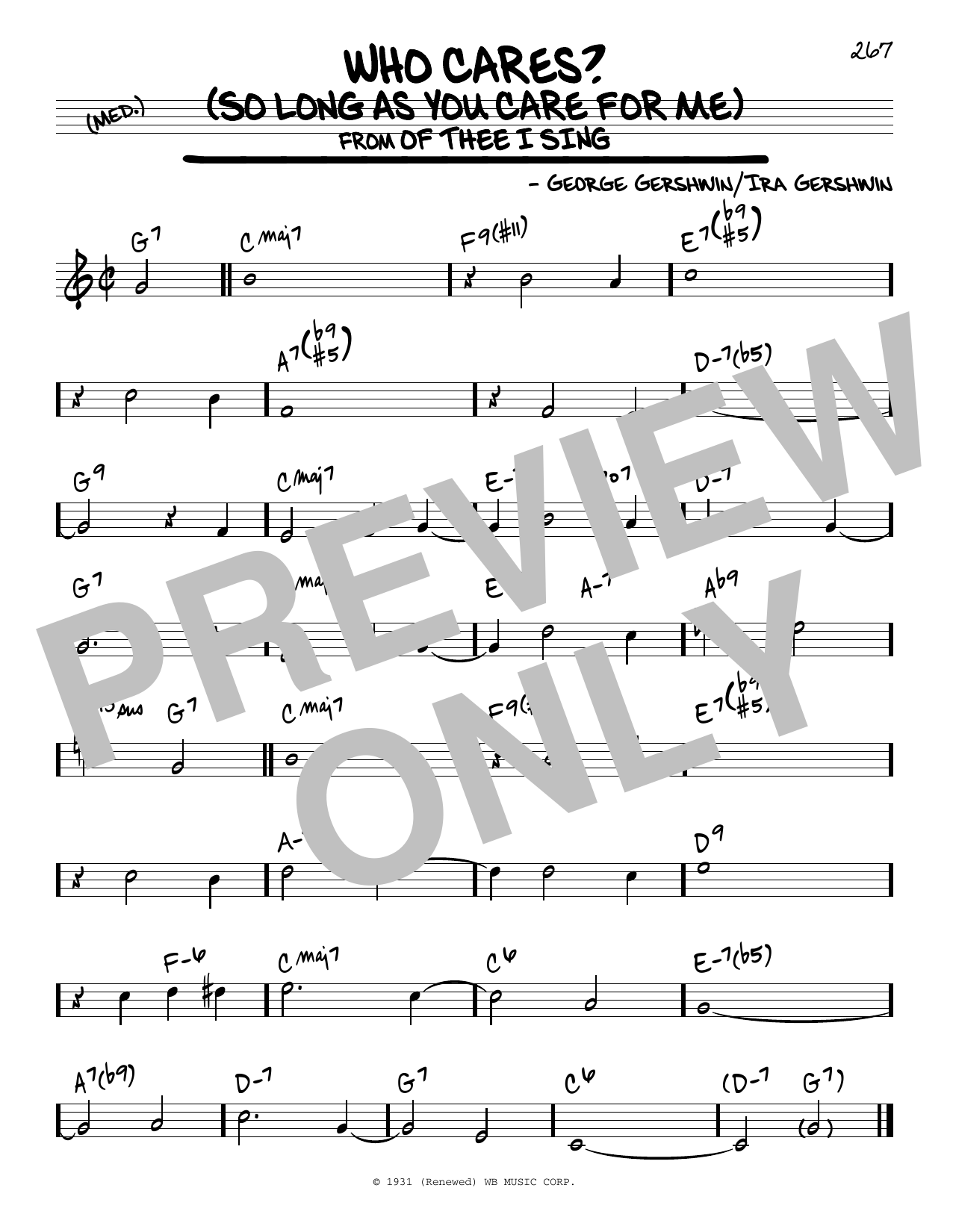 Who Cares? (So Long As You Care For Me) Sheet Music