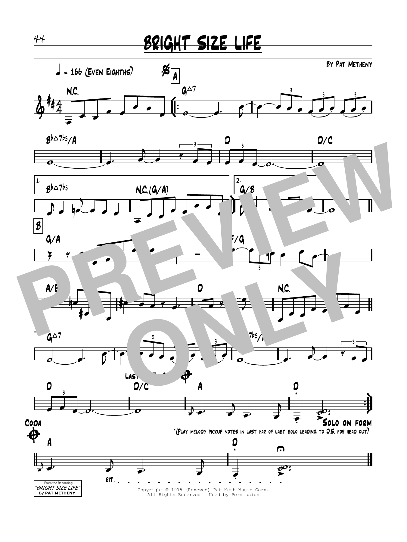 Bright Size Life Sheet Music
