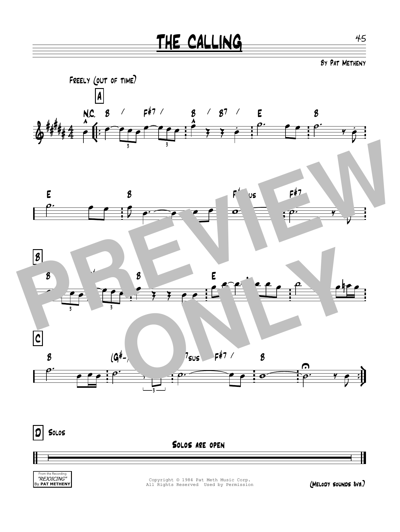 The Calling Sheet Music
