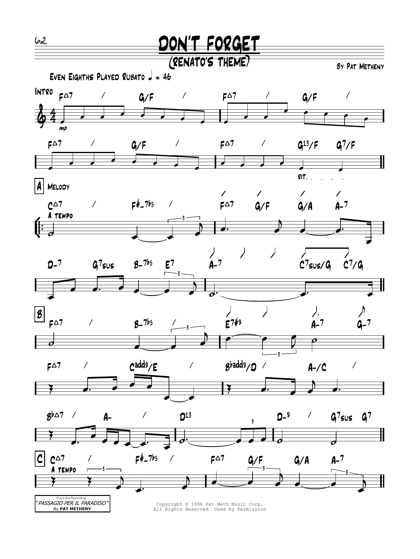 Don't Forget (Renato's Theme) Sheet Music