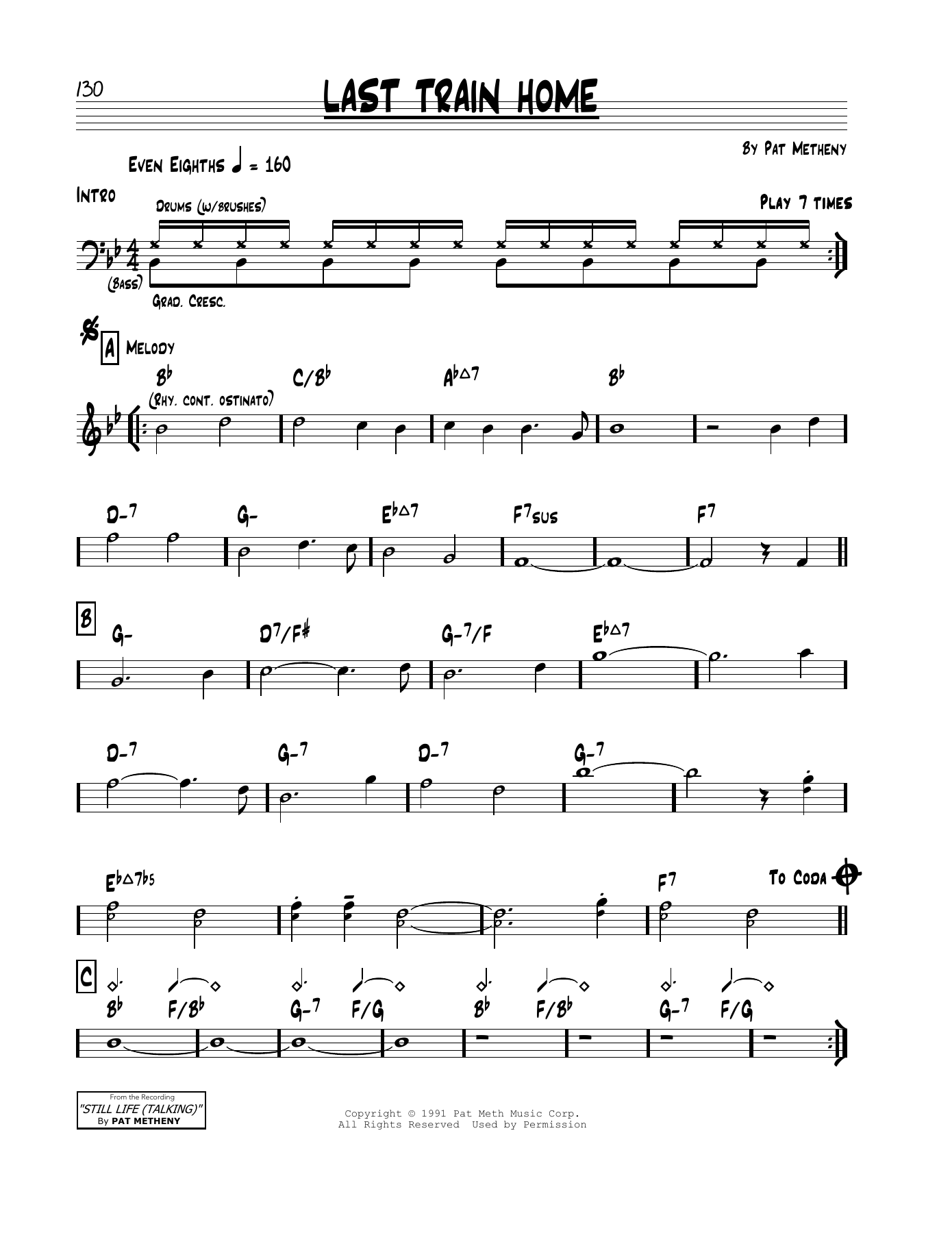 Last Train Home Sheet Music