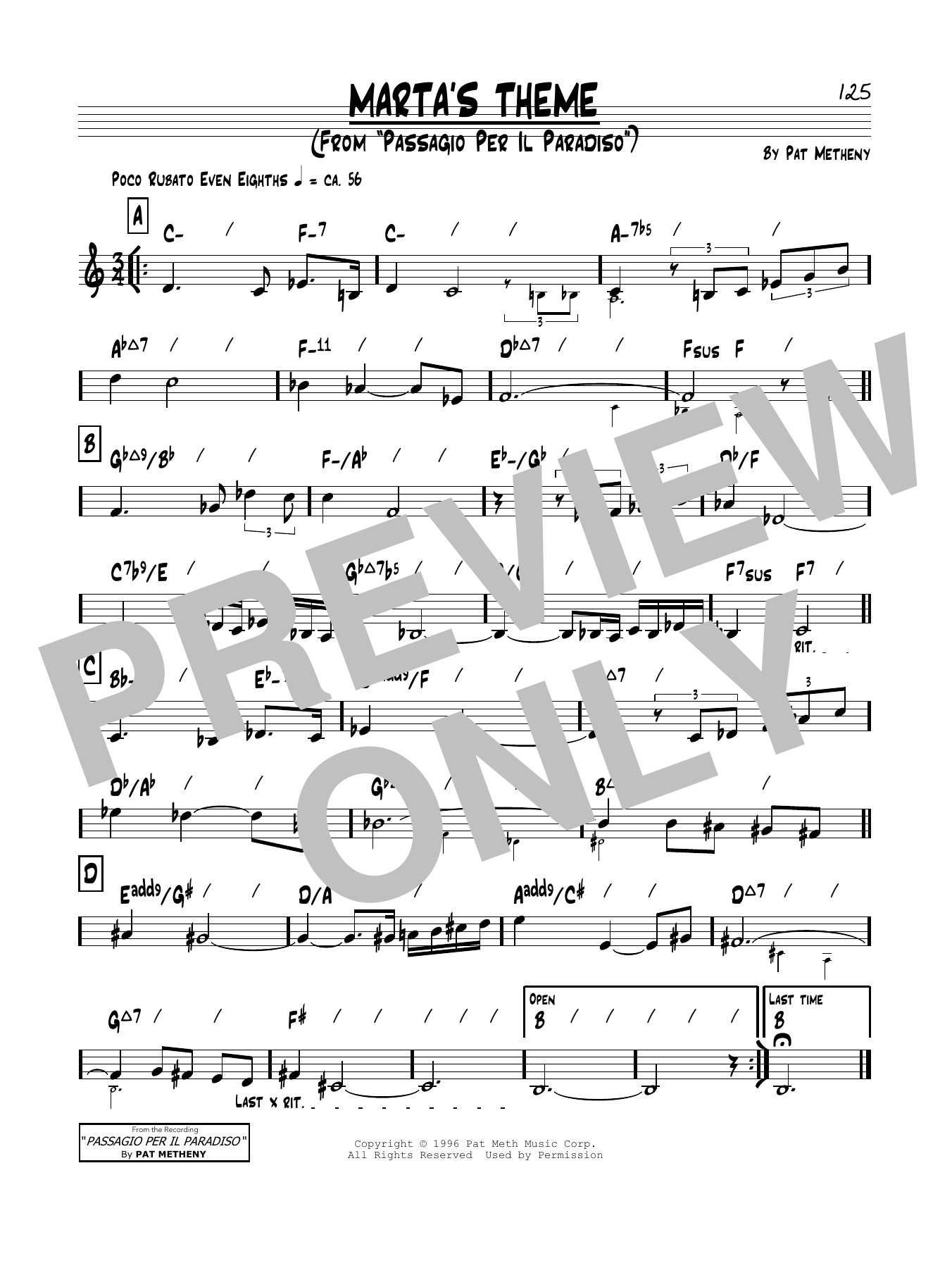 Marta's Theme Sheet Music