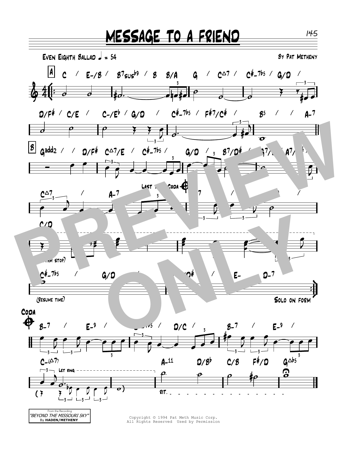 Message To A Friend Sheet Music