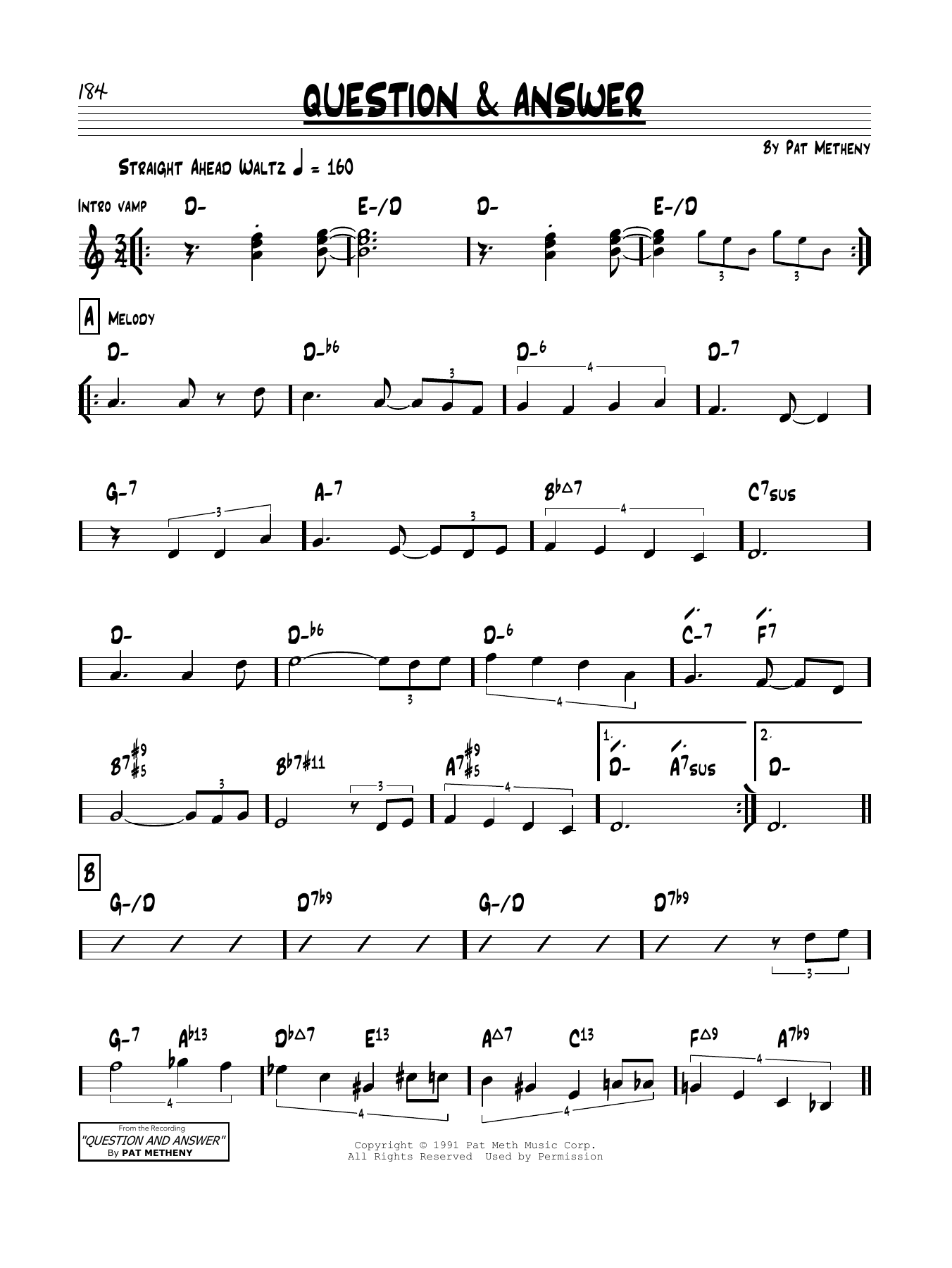 Question & Answer Sheet Music