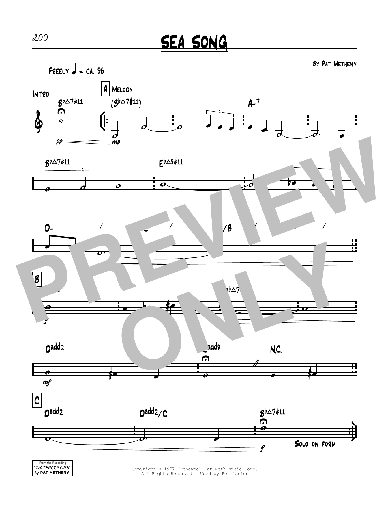 Sea Song Sheet Music
