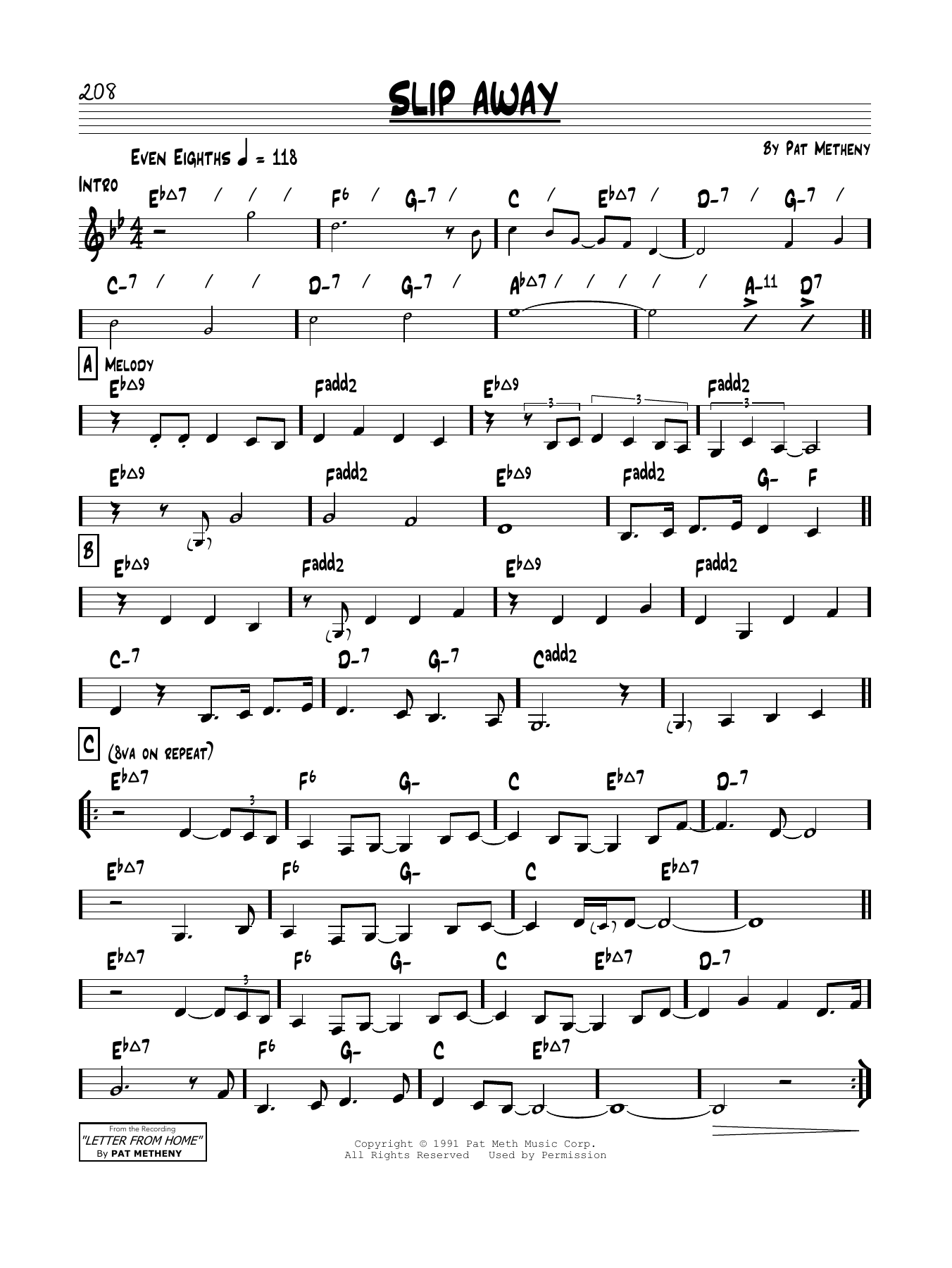 Slip Away Sheet Music