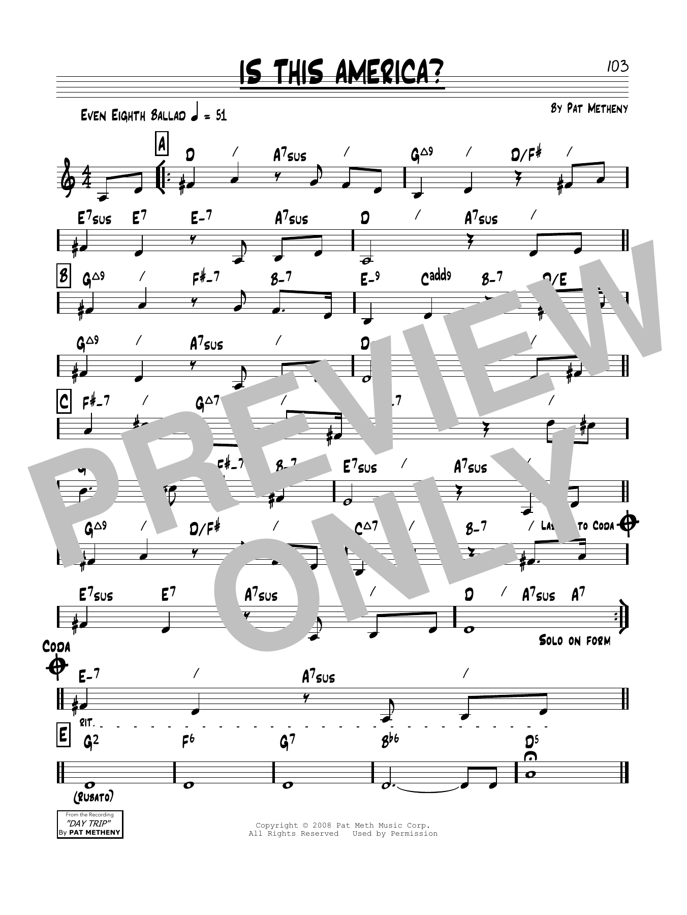 Is This America? (Real Book – Melody & Chords)