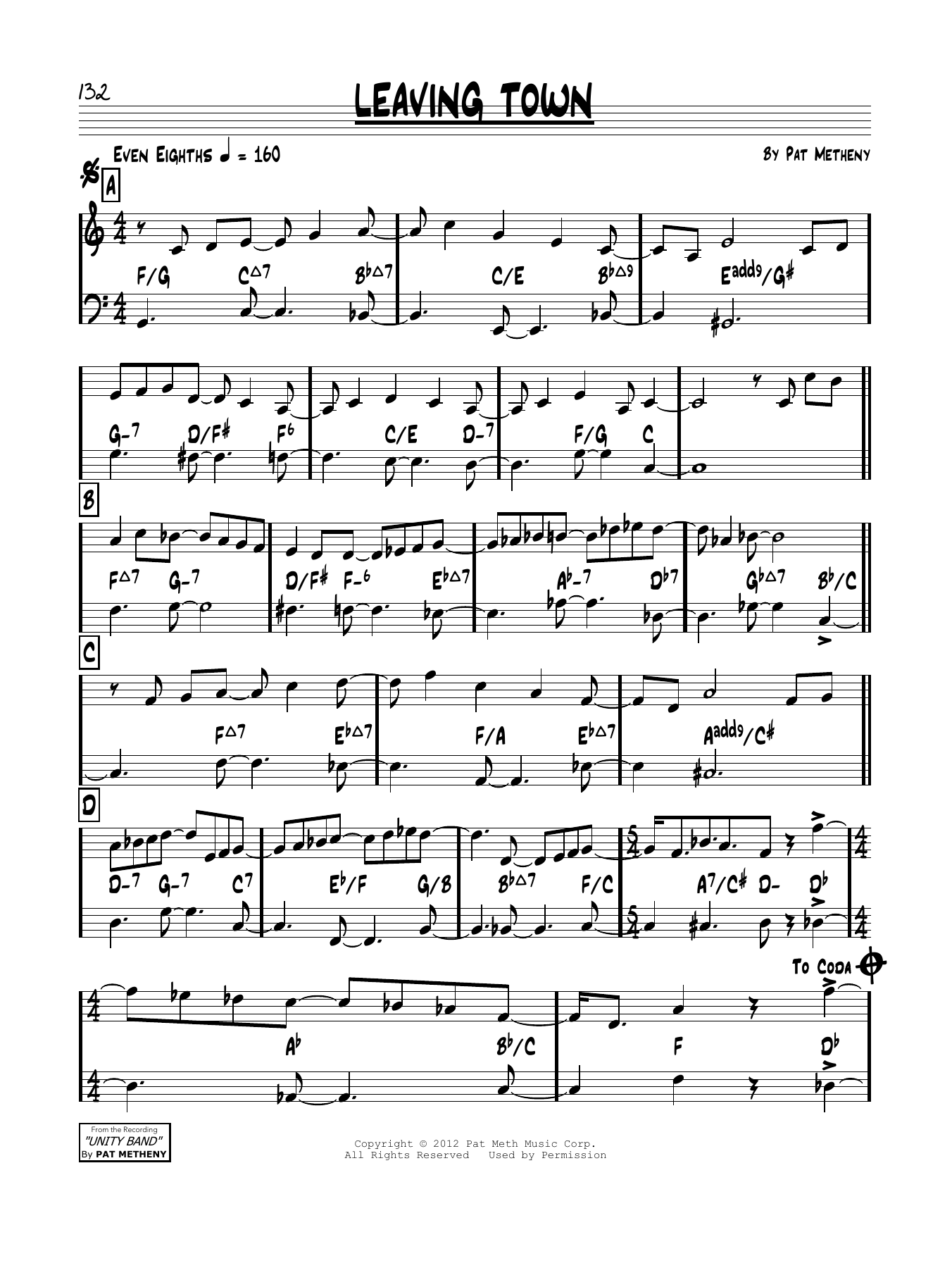 Leaving Town - Sheet Music to Download