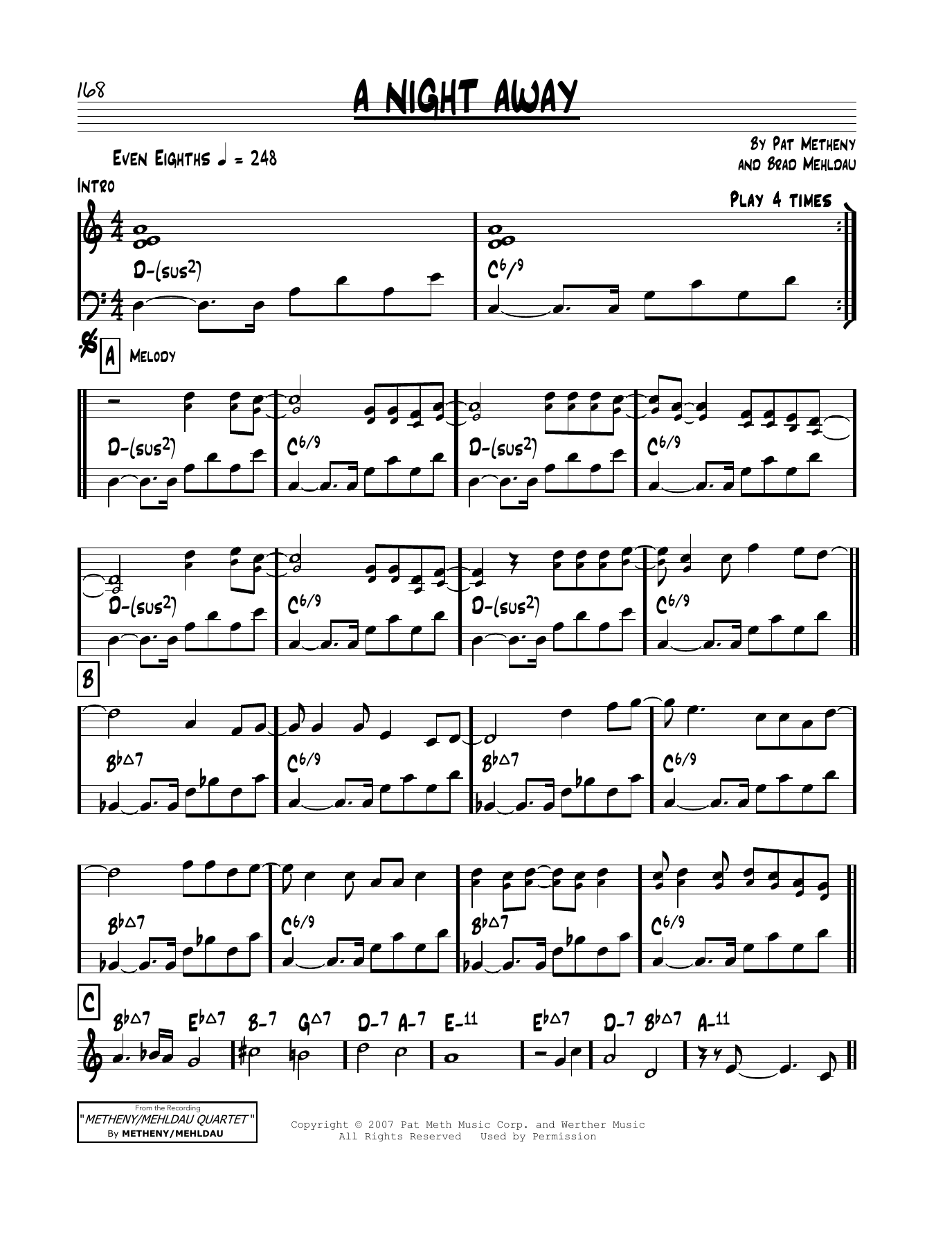 A Night Away Sheet Music