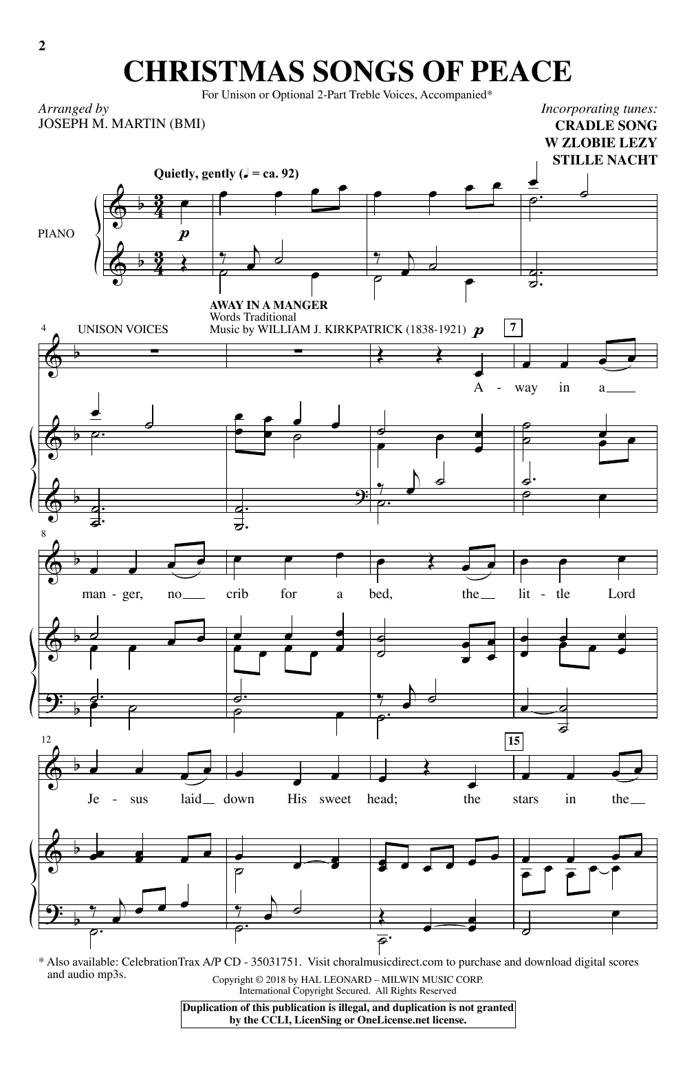 Christmas Songs Of Peace Sheet Music