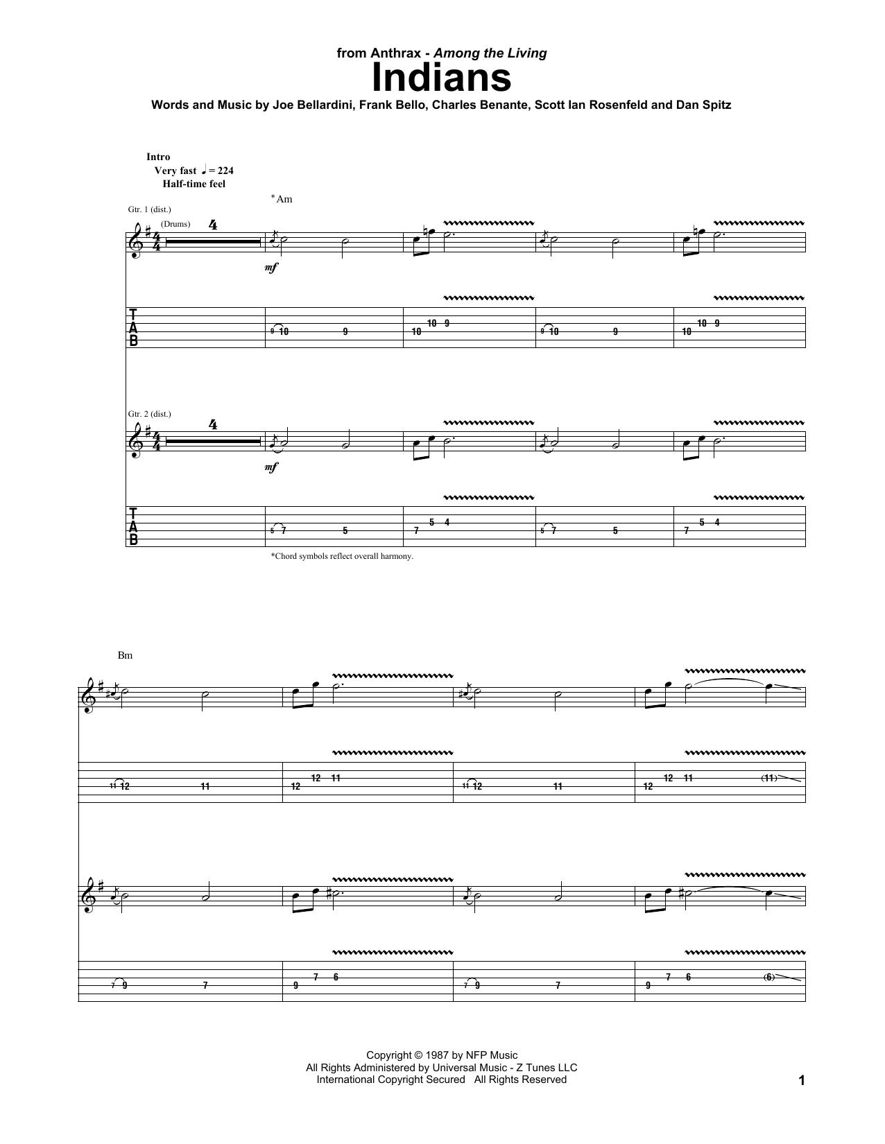 Indians (Guitar Tab)
