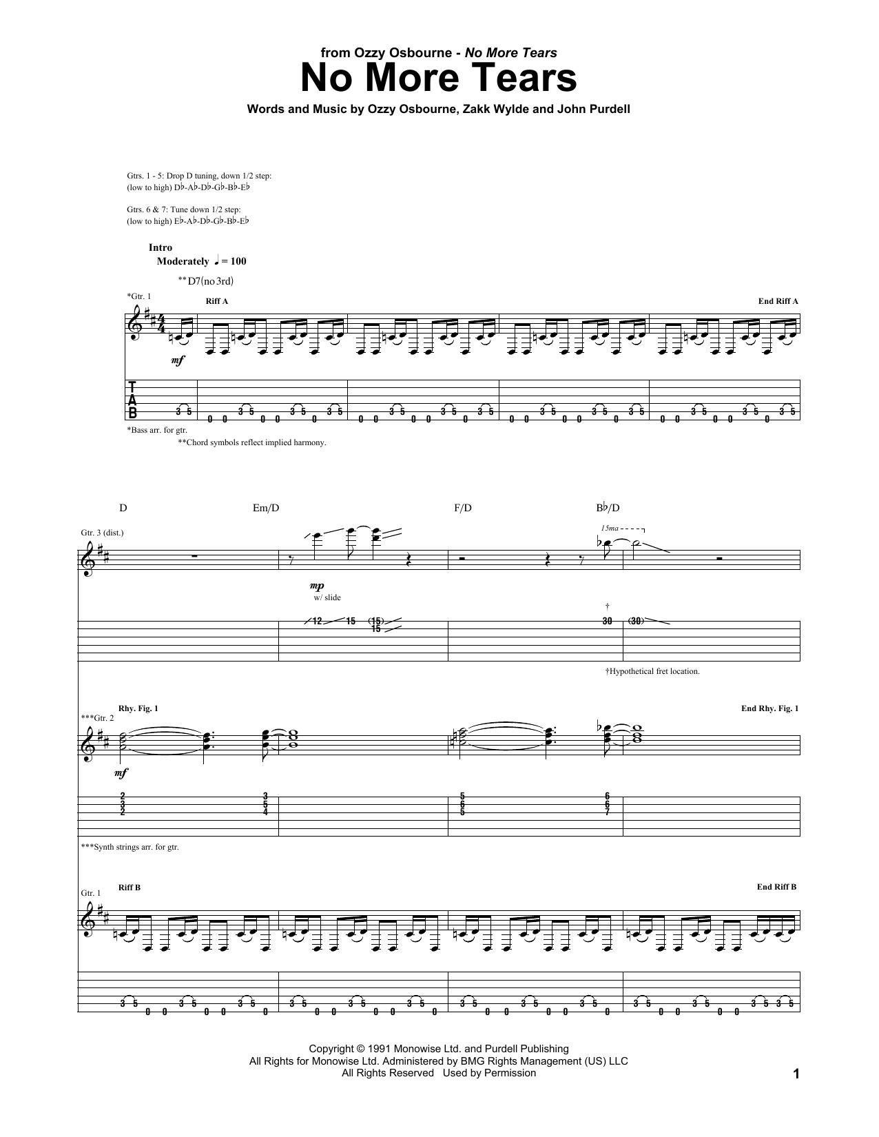 No More Tears (Guitar Tab)