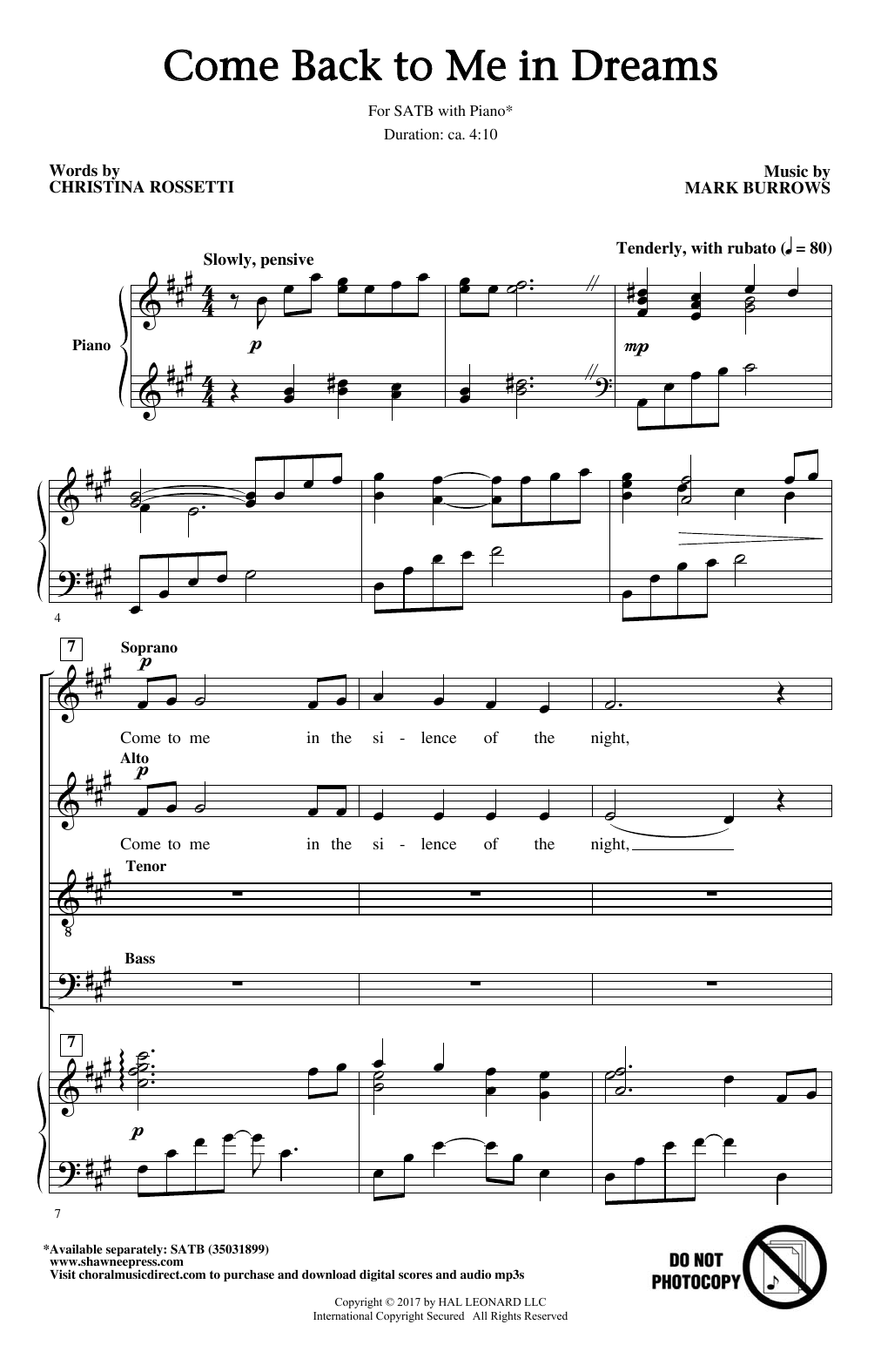 Come Back To Me In Dreams Sheet Music