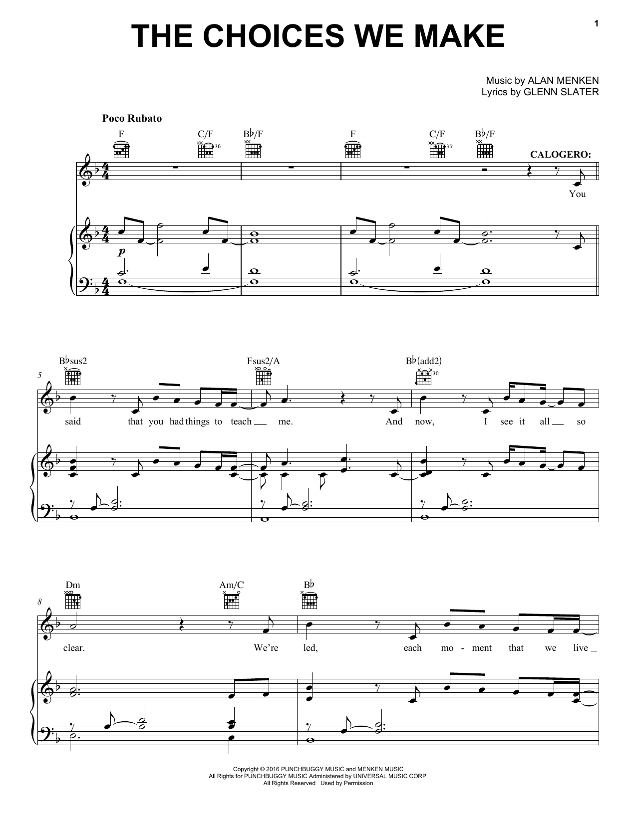 The Choices We Make (Piano, Vocal & Guitar (Right-Hand Melody))