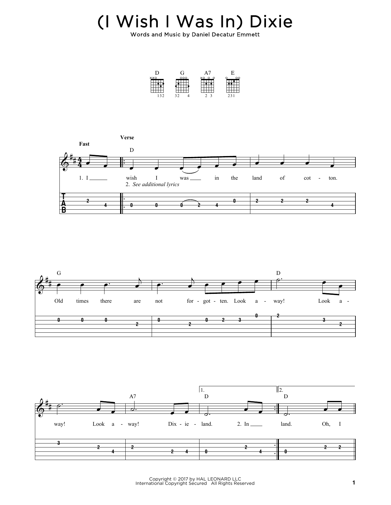 (I Wish I Was In) Dixie Sheet Music