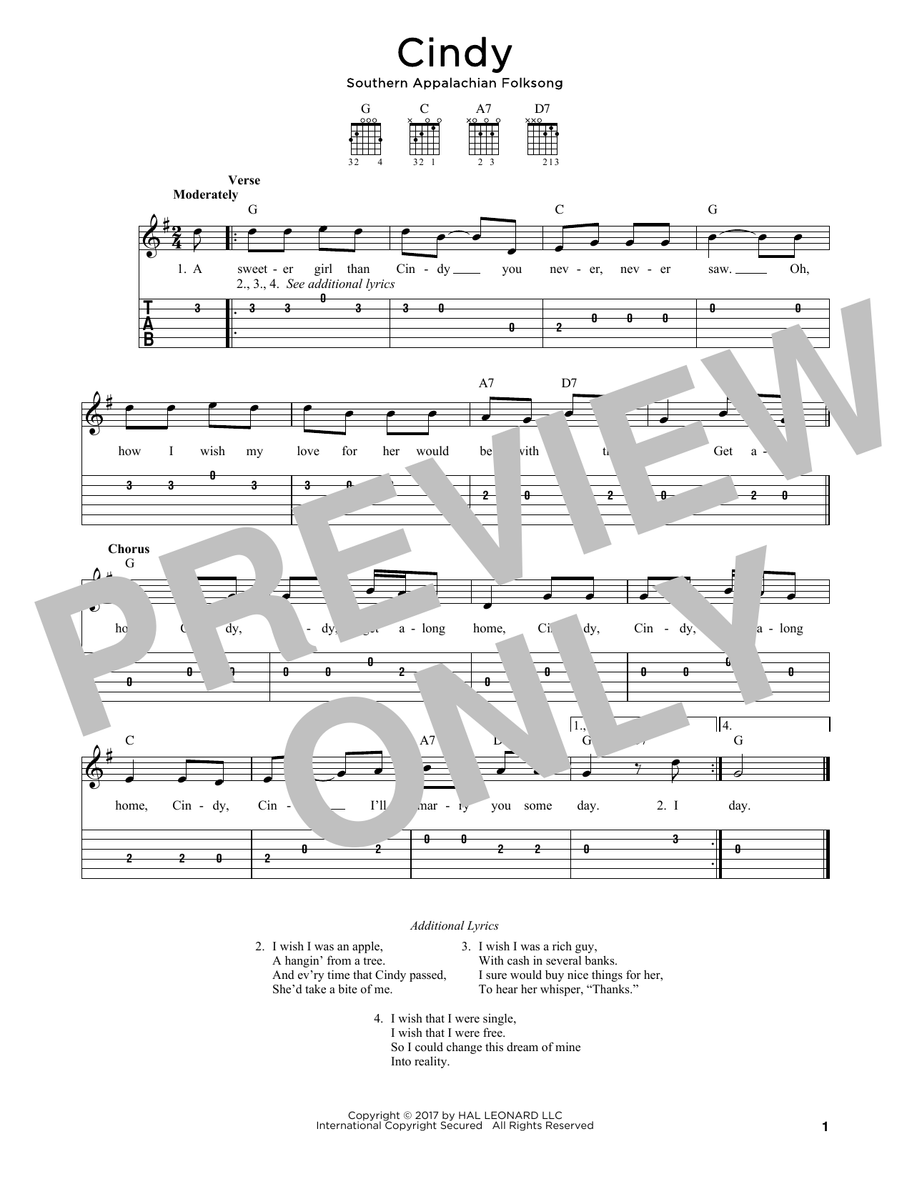 Cindy Sheet Music