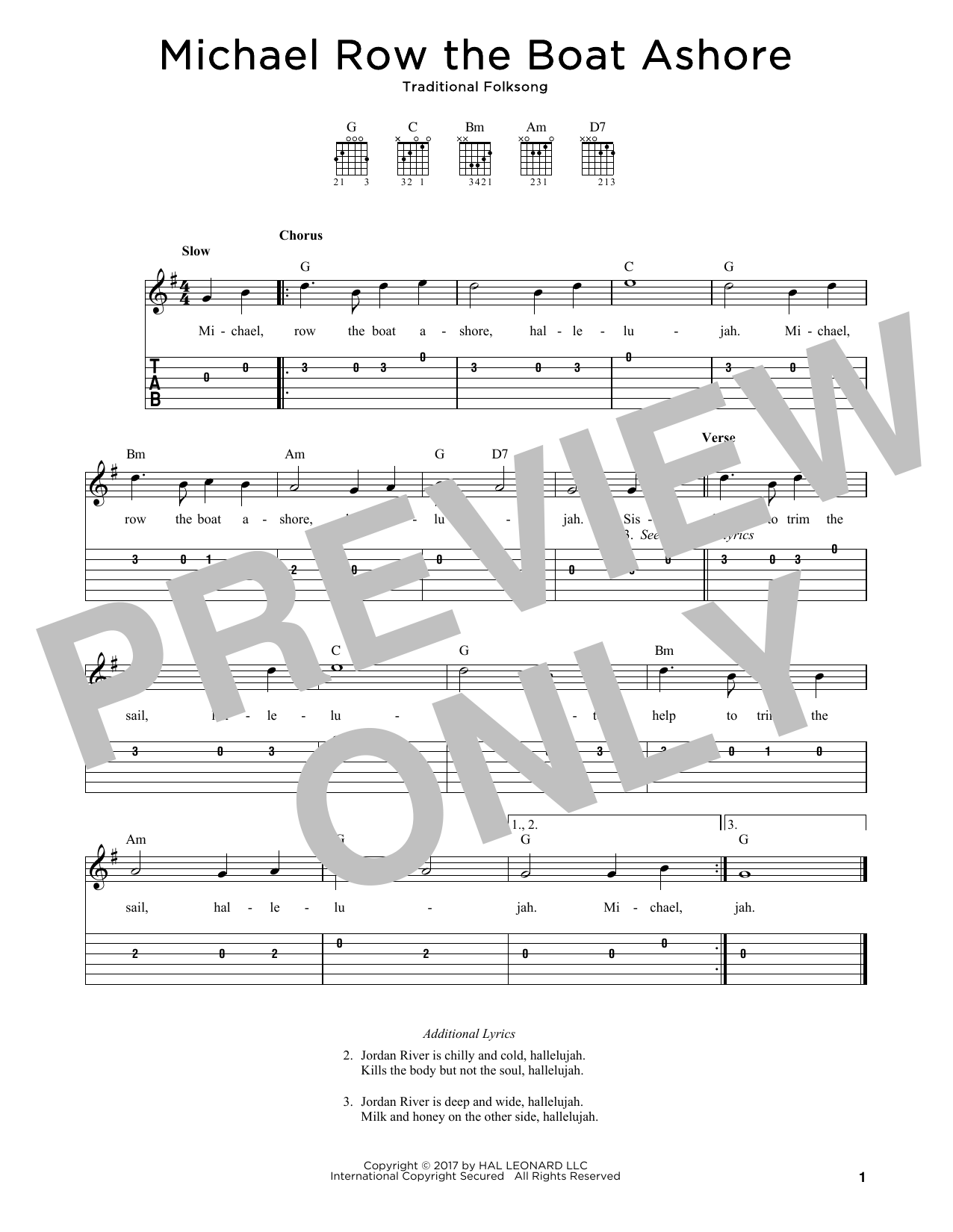 Michael Row The Boat Ashore Sheet Music