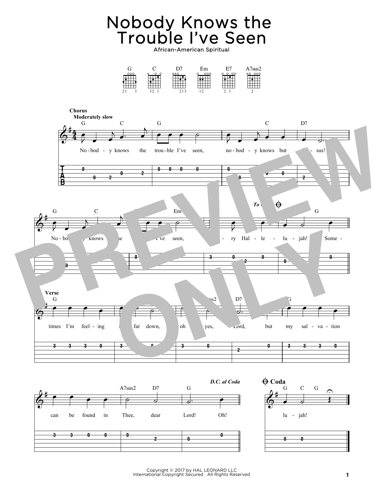 Nobody Knows The Trouble I've Seen Sheet Music