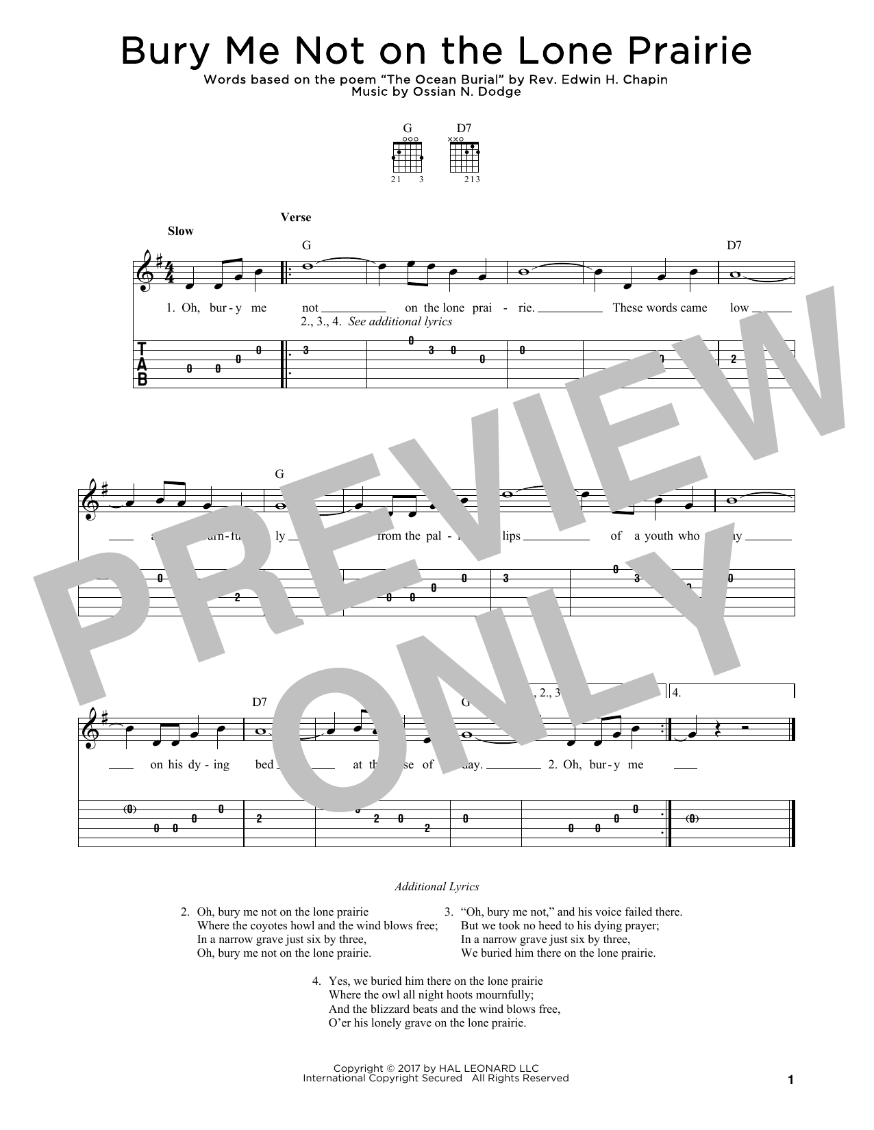Bury Me Not On The Lone Prairie Sheet Music