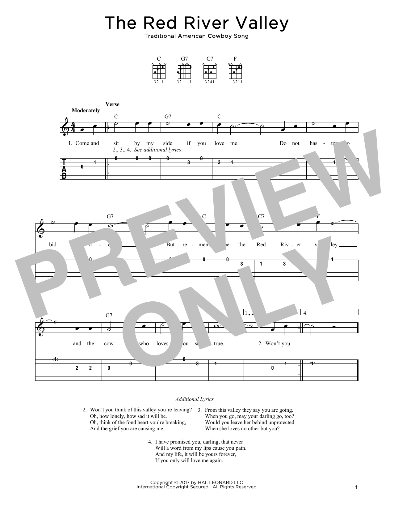 The Red River Valley Sheet Music