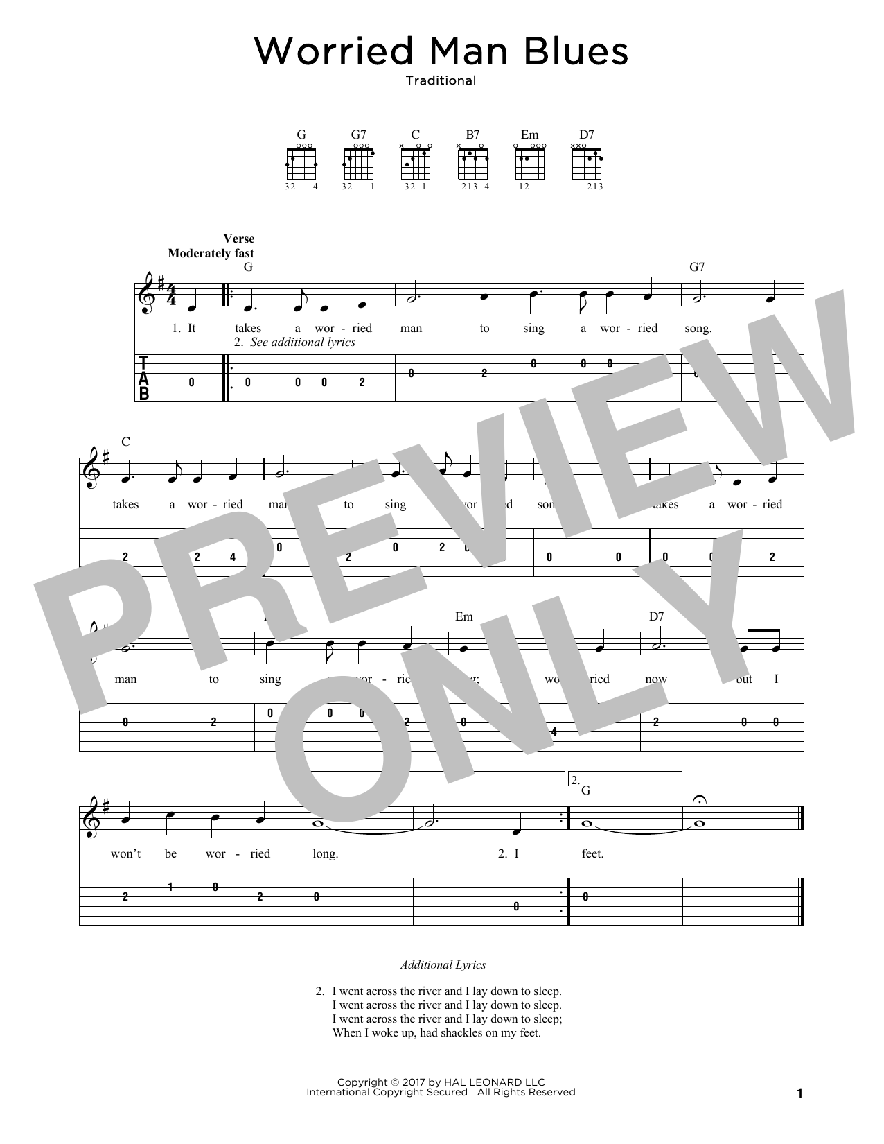 Worried Man Blues Sheet Music