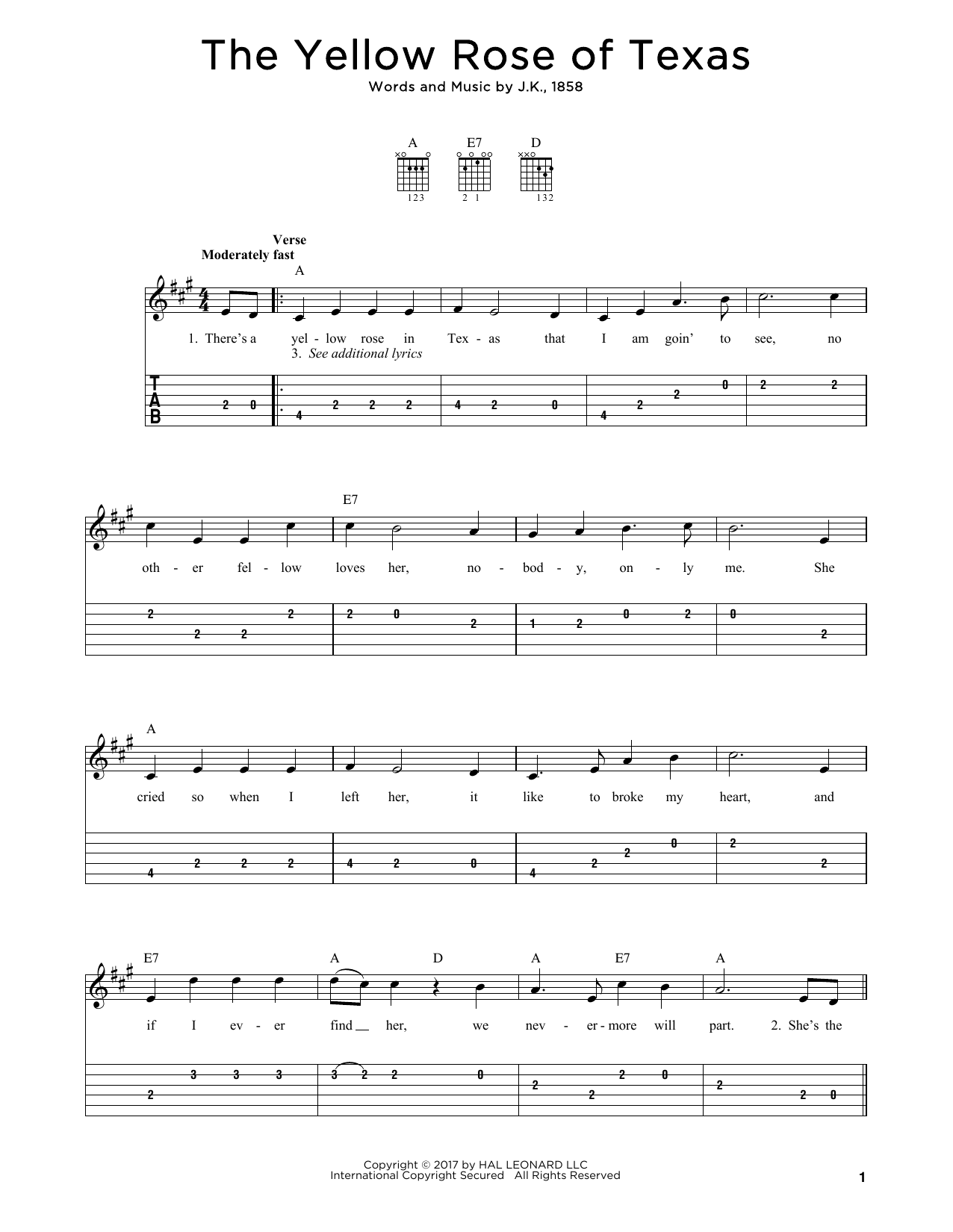 The Yellow Rose Of Texas (Solo Guitar Tab)