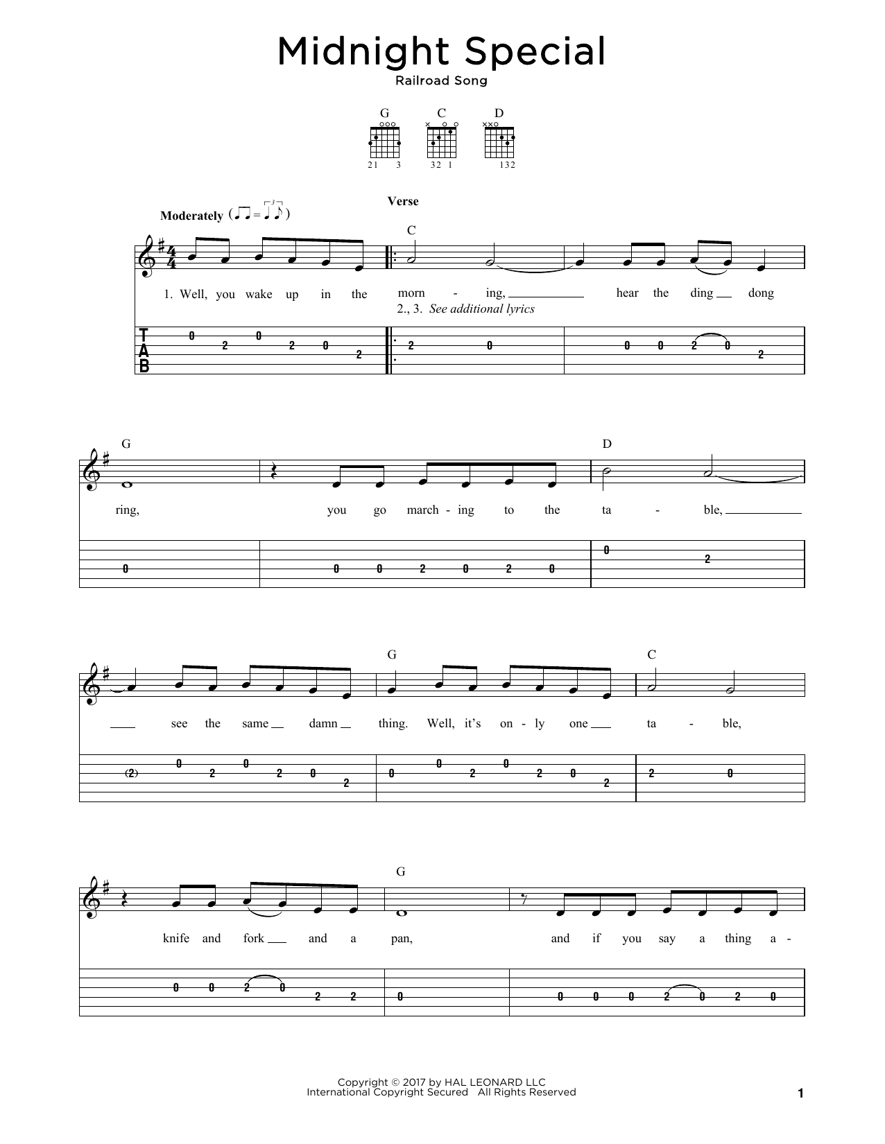 Midnight Special Sheet Music