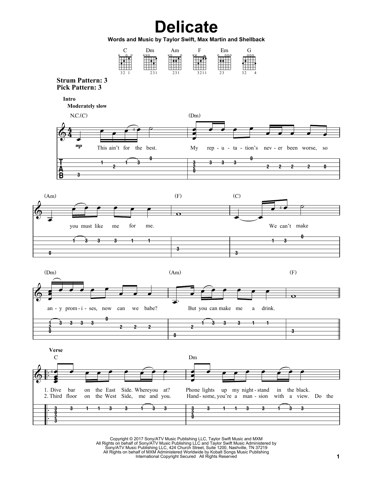 Delicate By Taylor Swift Easy Guitar Tab Guitar Instructor
