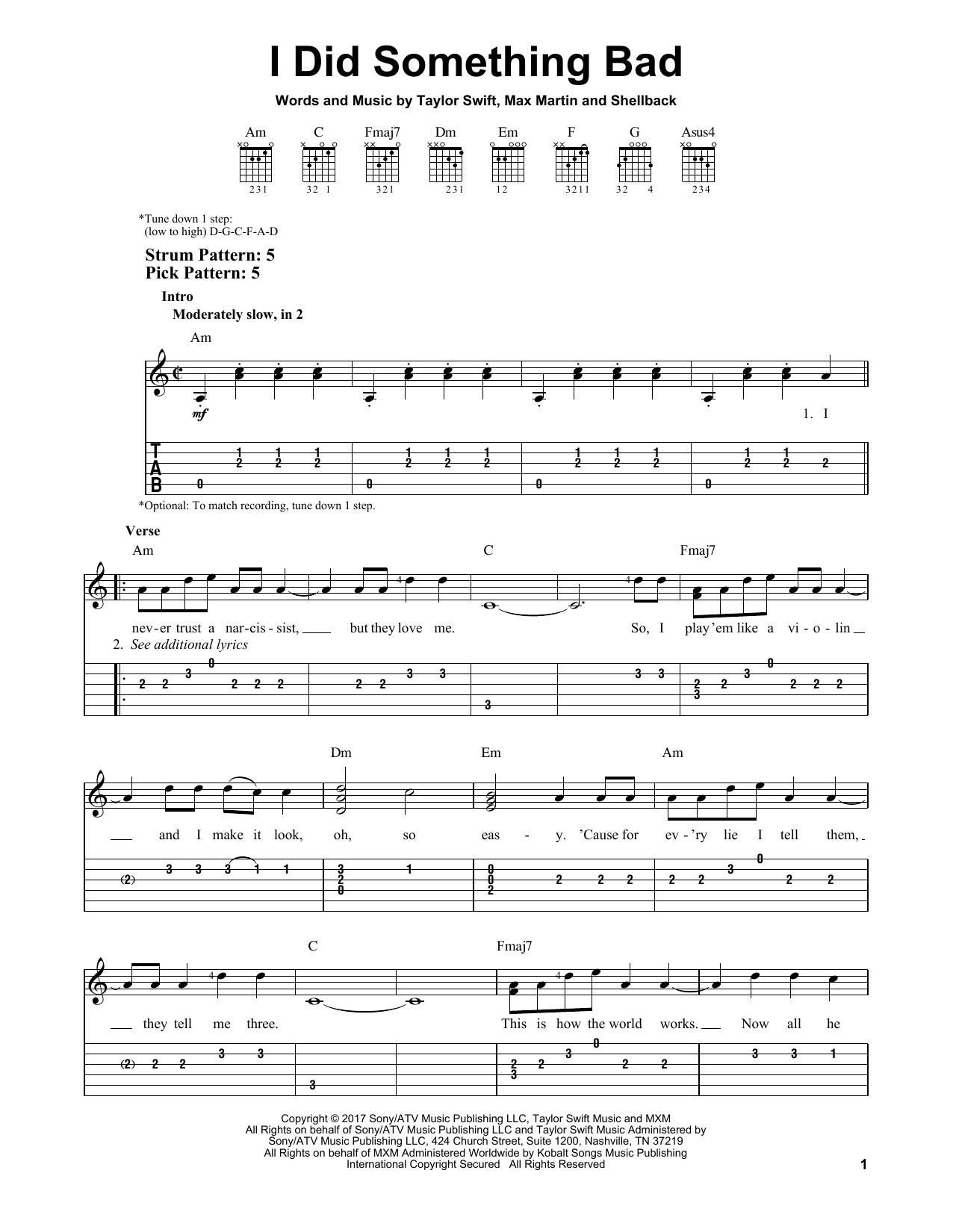 I Did Something Bad (Easy Guitar Tab)
