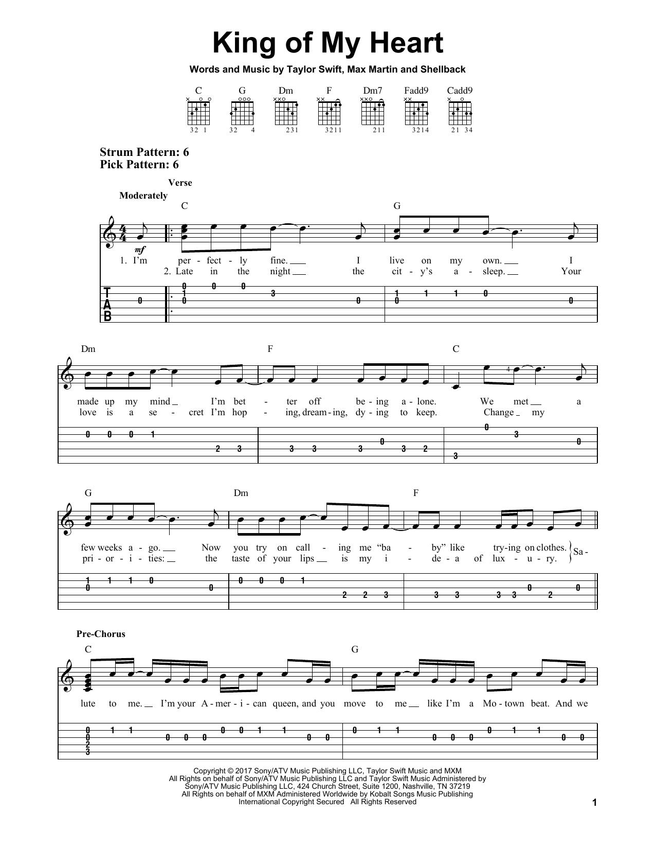 King Of My Heart (Easy Guitar Tab)