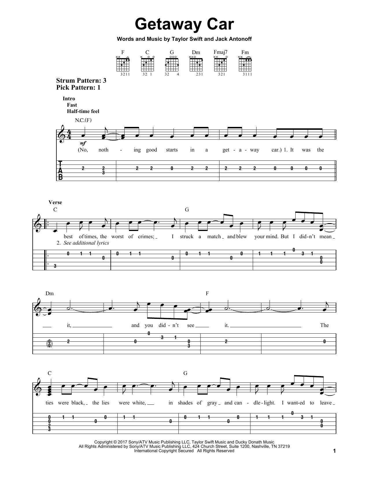 Getaway Car (Easy Guitar Tab)