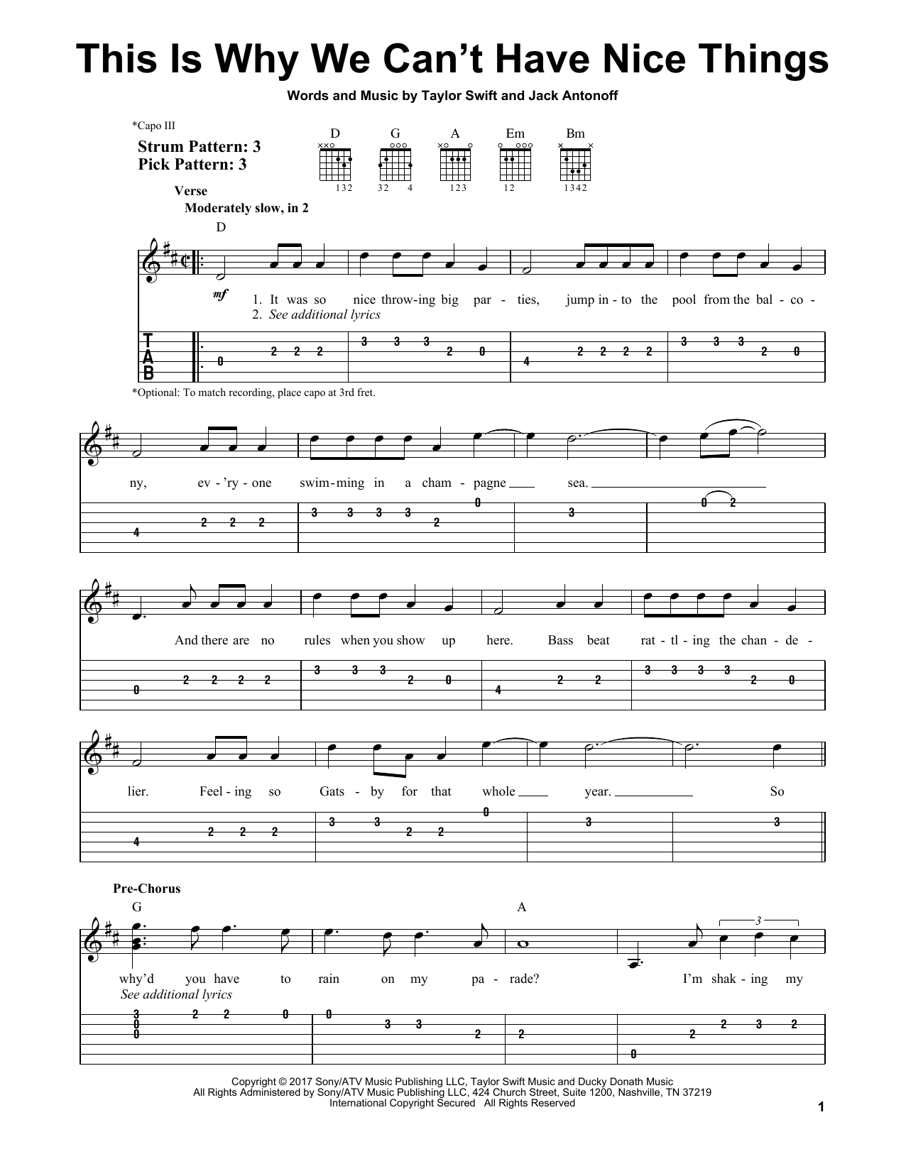 This Is Why We Can't Have Nice Things (Easy Guitar Tab)