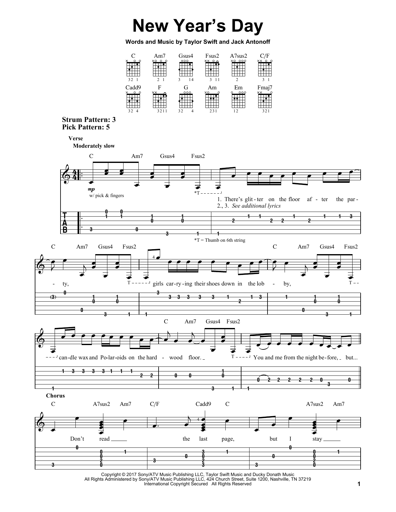 New Years Day By Taylor Swift Easy Guitar Tab Guitar Instructor