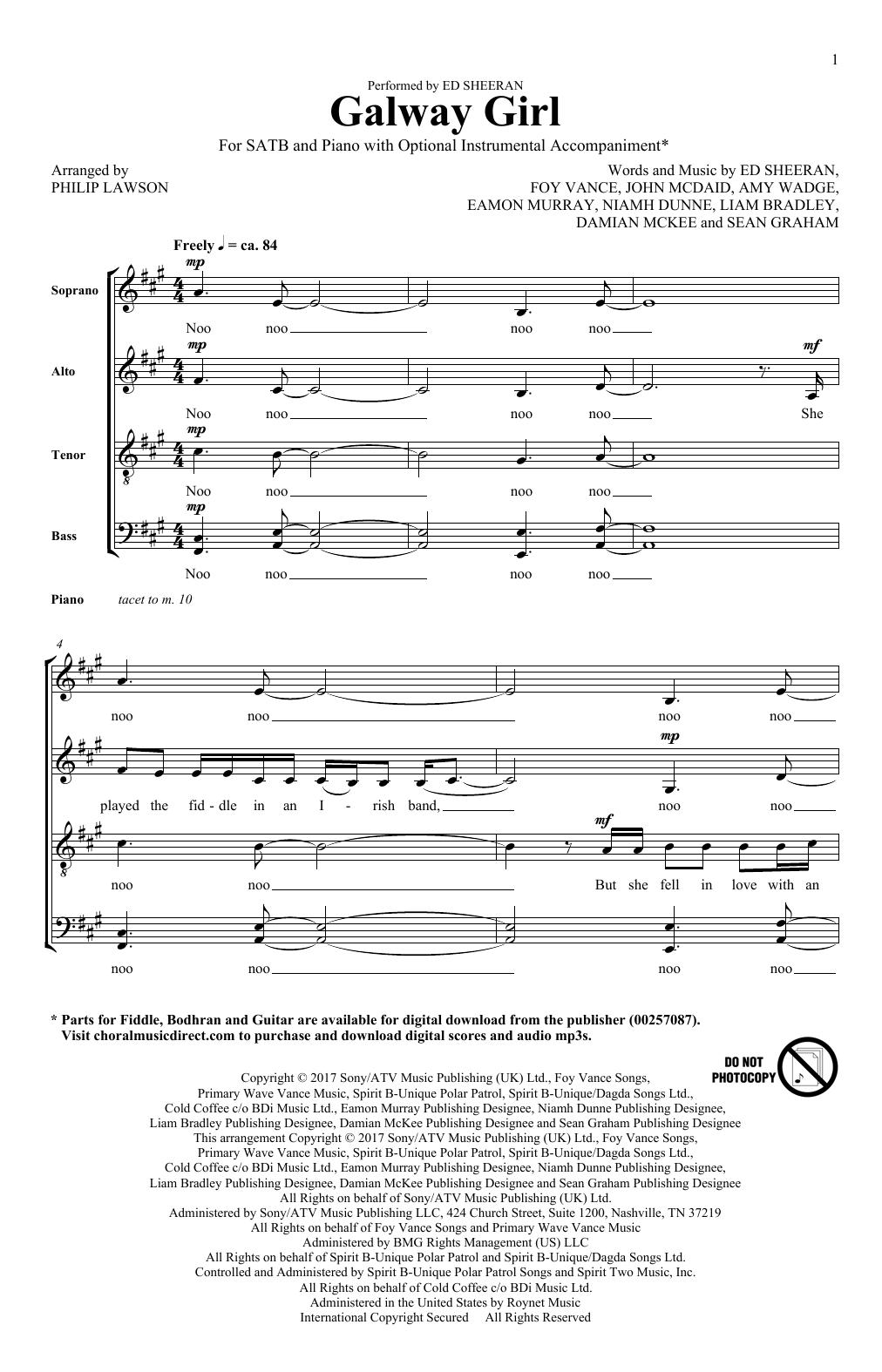 Galway Girl (SATB Choir)