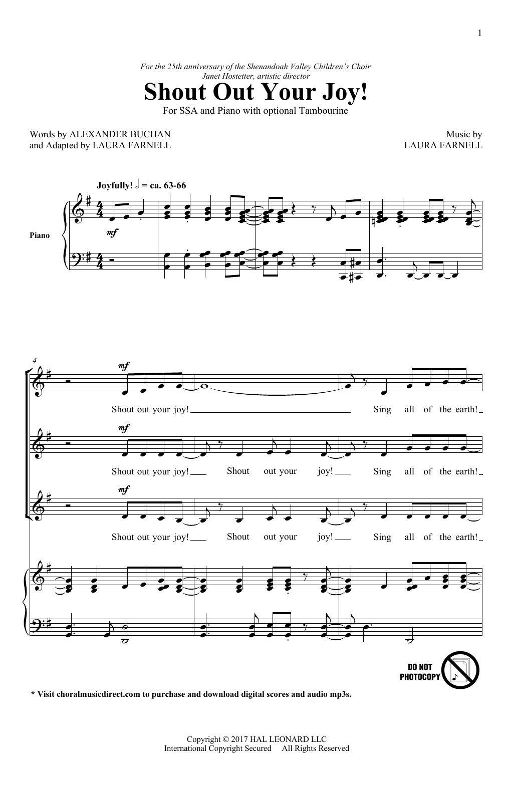 Shout Out Your Joy! Sheet Music
