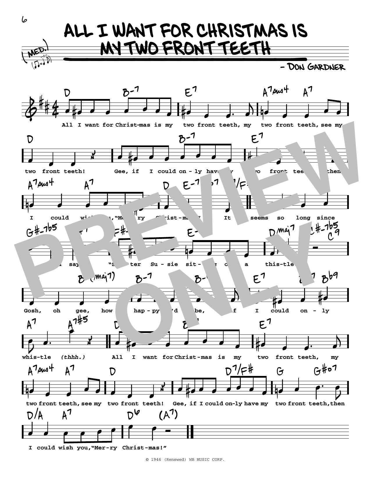 Lyrics All I Want For Christmas.All I Want For Christmas Is My Two Front Teeth Sheet Music