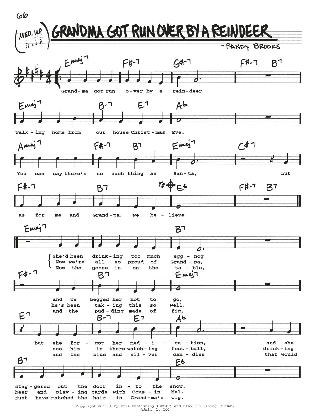 Grandma Got Run Over By A Reindeer Sheet Music   Randy Brooks   Real Book – Melody, Lyrics & Chords