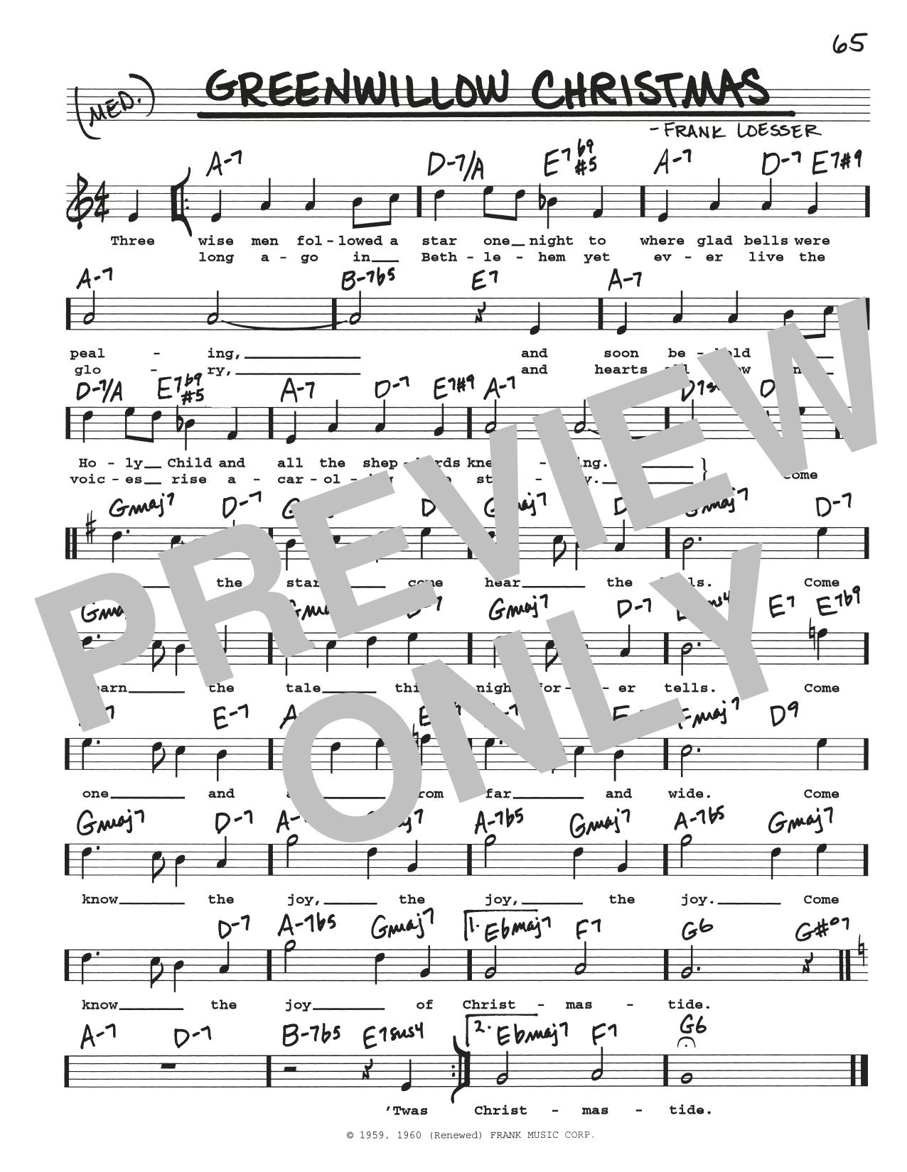 Greenwillow Christmas (Real Book – Melody, Lyrics & Chords)