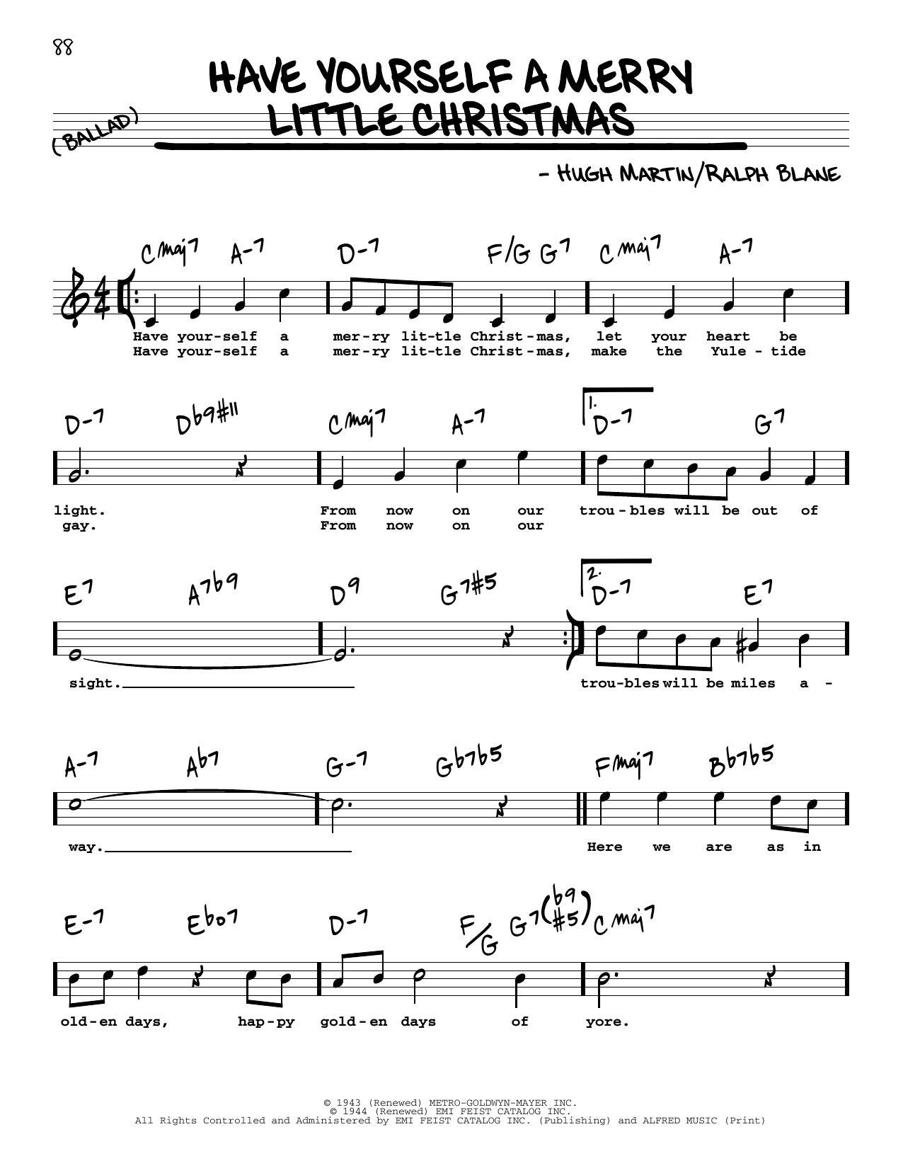 Have Yourself A Merry Little Christmas Lead Sheet.Sheet Music Digital Files To Print Licensed Ralph Blane