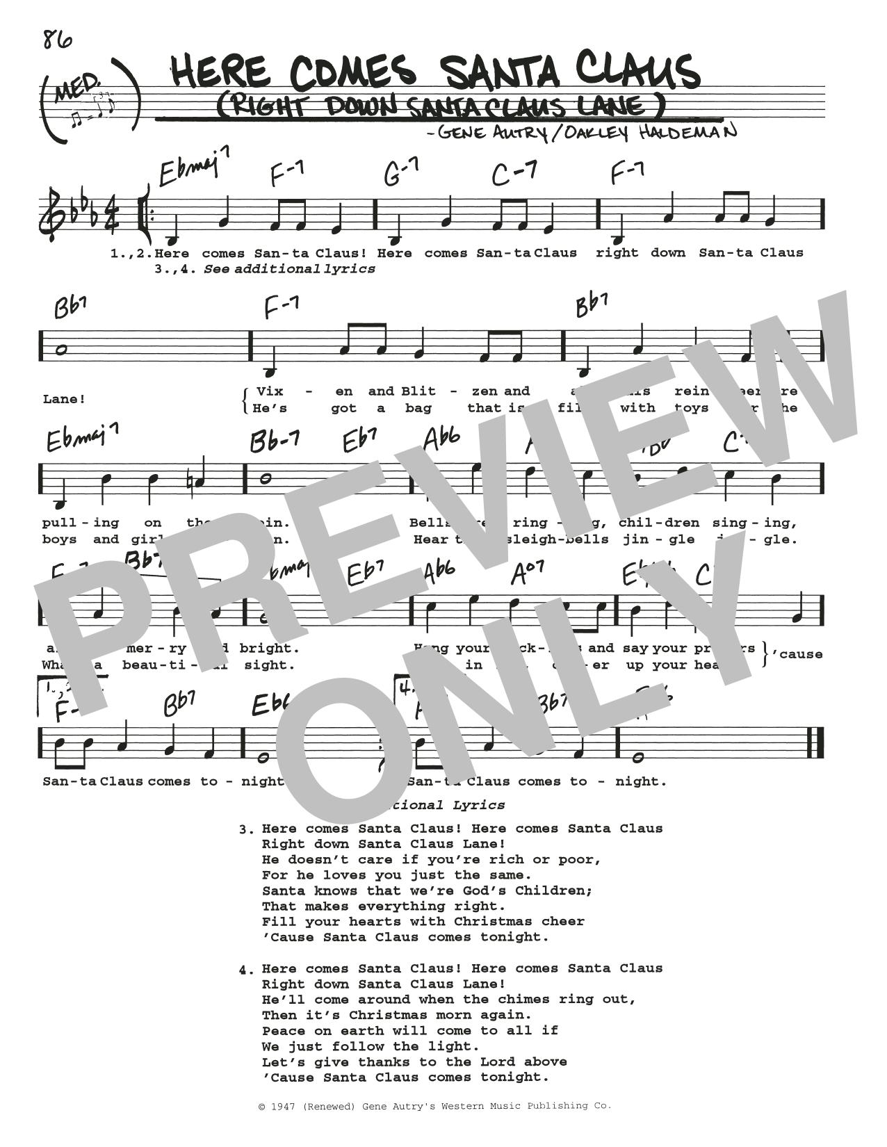 Here Comes Santa Claus (Right Down Santa Claus Lane) (Real Book – Melody, Lyrics & Chords)