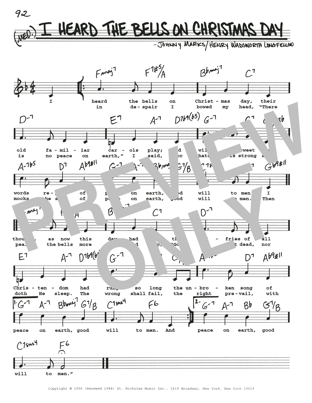 I Heard The Bells On Christmas Day Lyrics.I Heard The Bells On Christmas Day By Johnny Marks Real Book Melody Lyrics Chords Digital Sheet Music