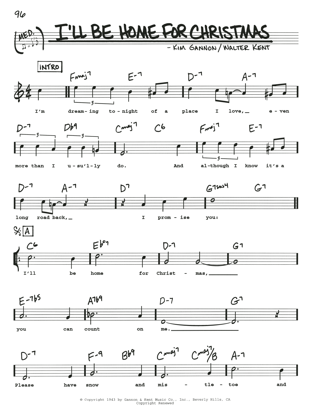 Ill Be Home For Christmas Chords.I Ll Be Home For Christmas By Kim Gannon Real Book Melody Lyrics Chords Digital Sheet Music