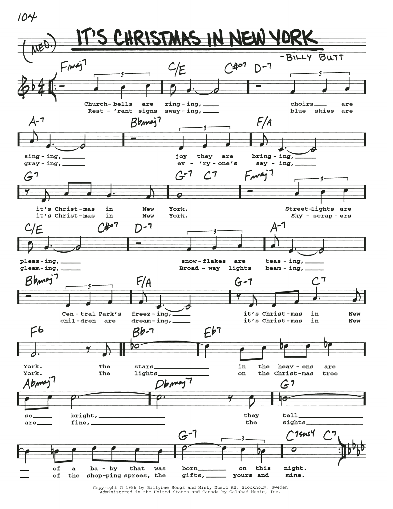 It's Christmas In New York Sheet Music