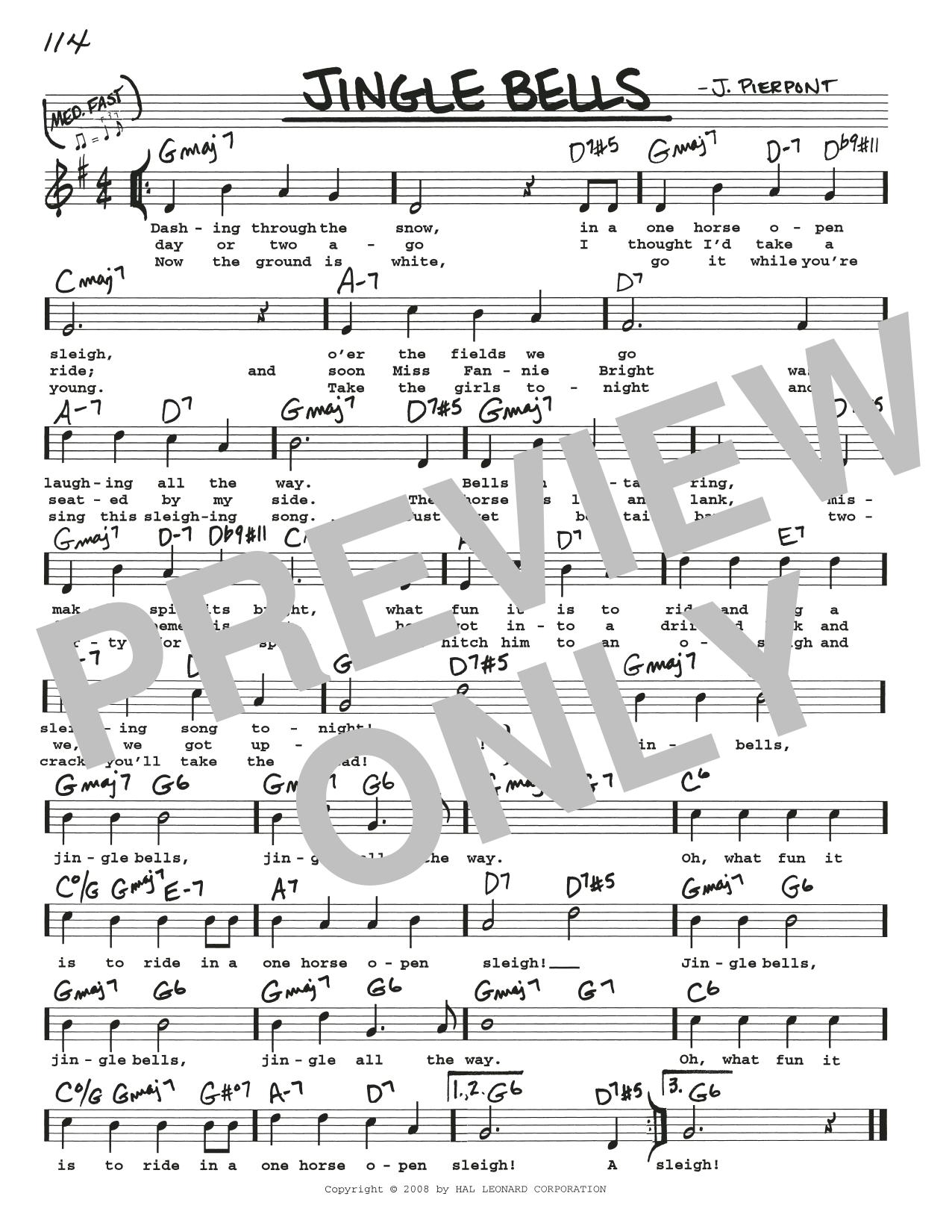 Jingle Bells Sheet Music J Pierpont Real Book Melody Lyrics
