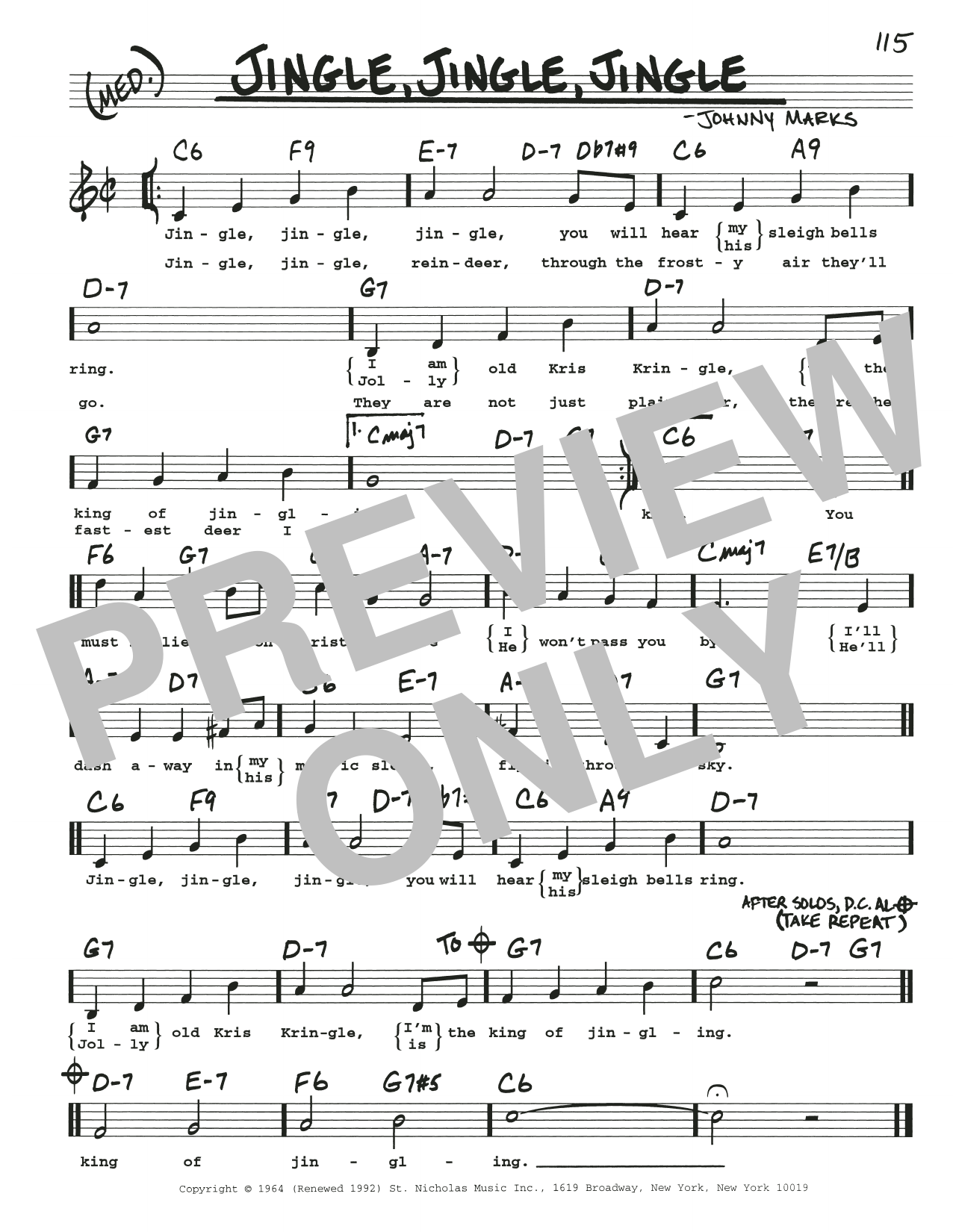 Jingle, Jingle, Jingle (Real Book – Melody, Lyrics & Chords)