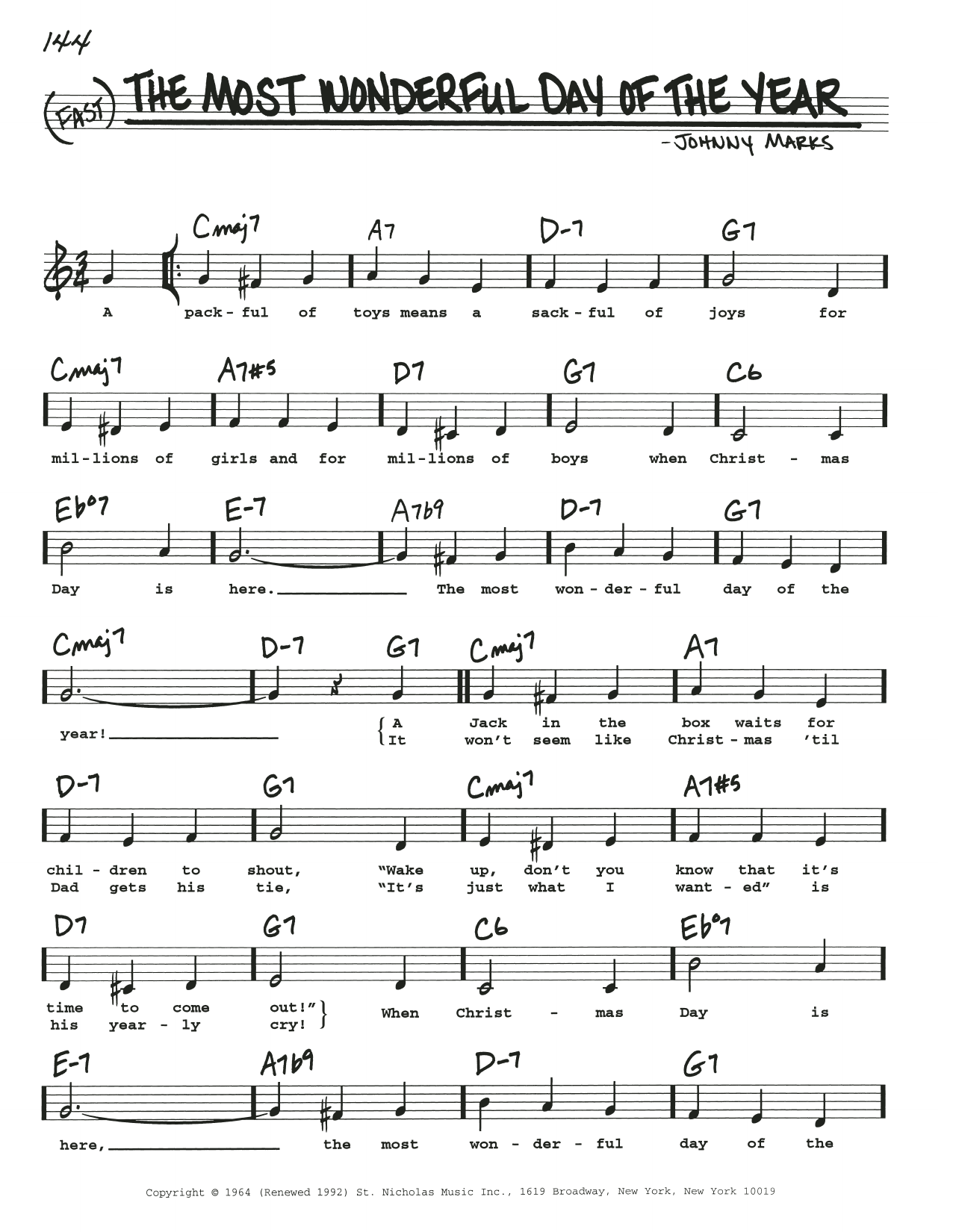 The Most Wonderful Day Of The Year Sheet Music