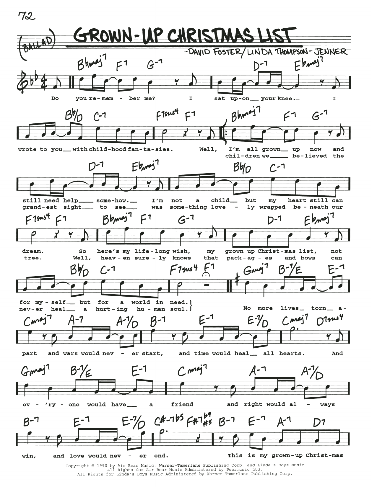 Grown-Up Christmas List sheet music by Amy Grant (Real Book – Melody, Lyrics & Chords – 197856)