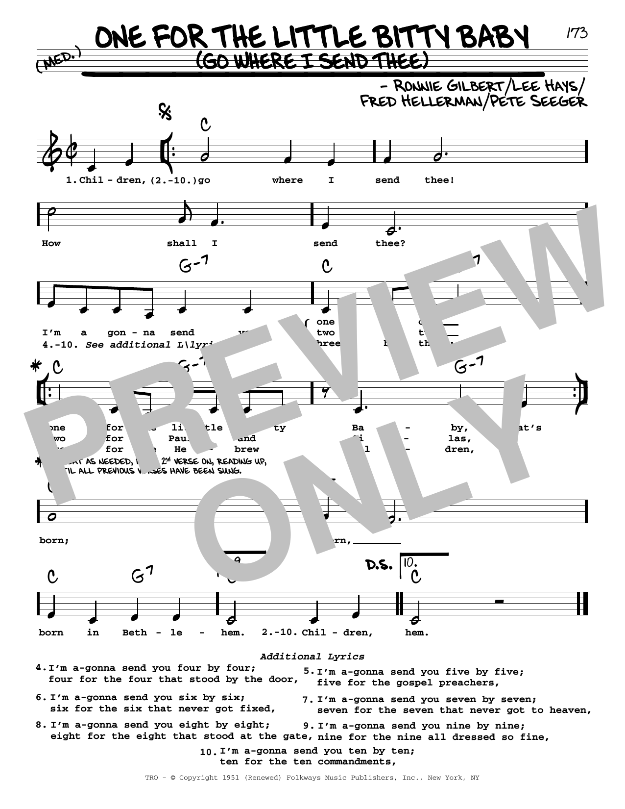One For The Little Bitty Baby (Go Where I Send Thee) Sheet Music