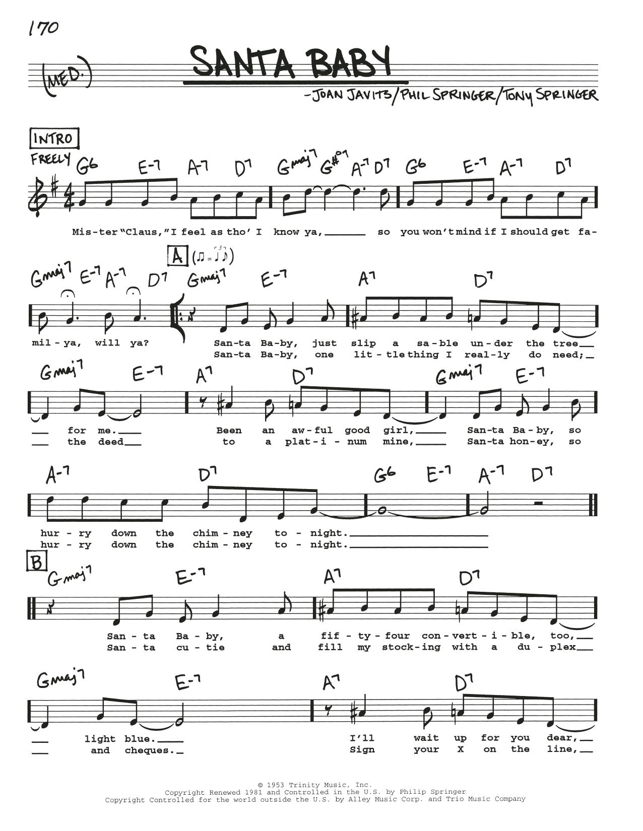Santa Baby Sheet Music Phil Springer Real Book Melody Lyrics