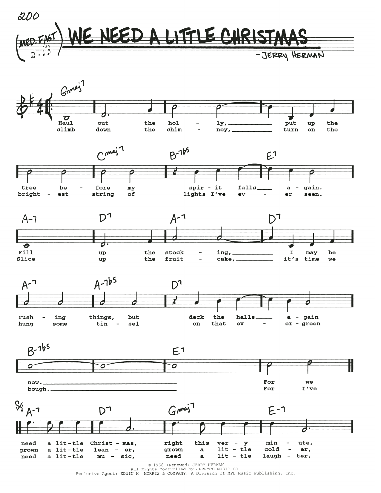 We Need A Little Christmas (Real Book – Melody, Lyrics & Chords)